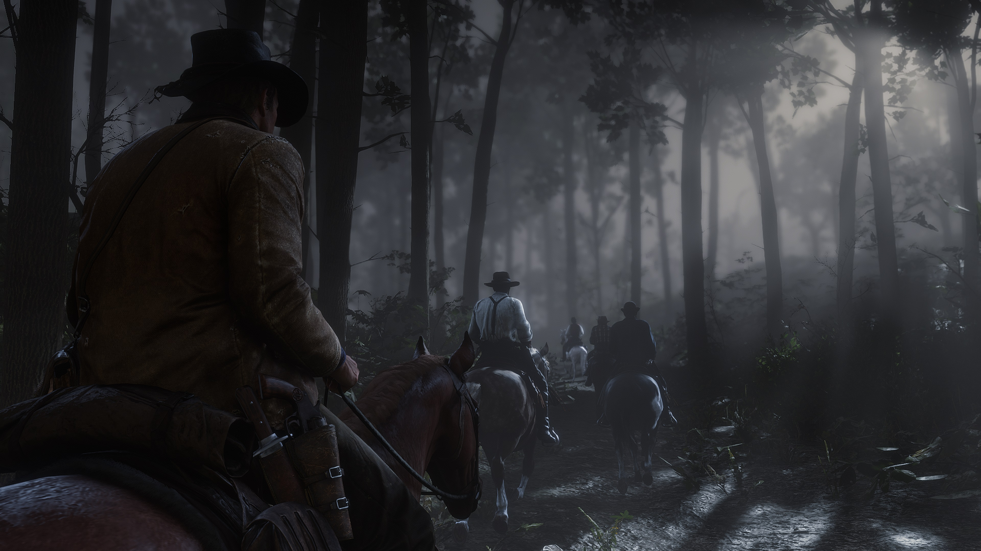 Red Dead Redemption 2 screenshot balade à cheval au clair de lune en forêt