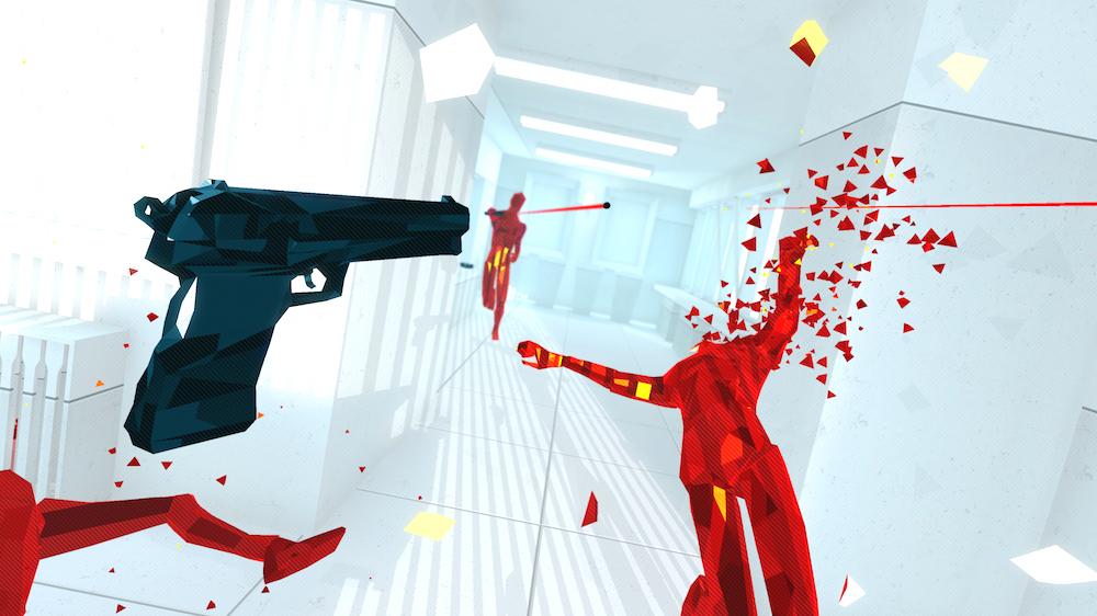pistolet pointé en direction d'une tête qui a explosé, personnages rouges et décor blanc