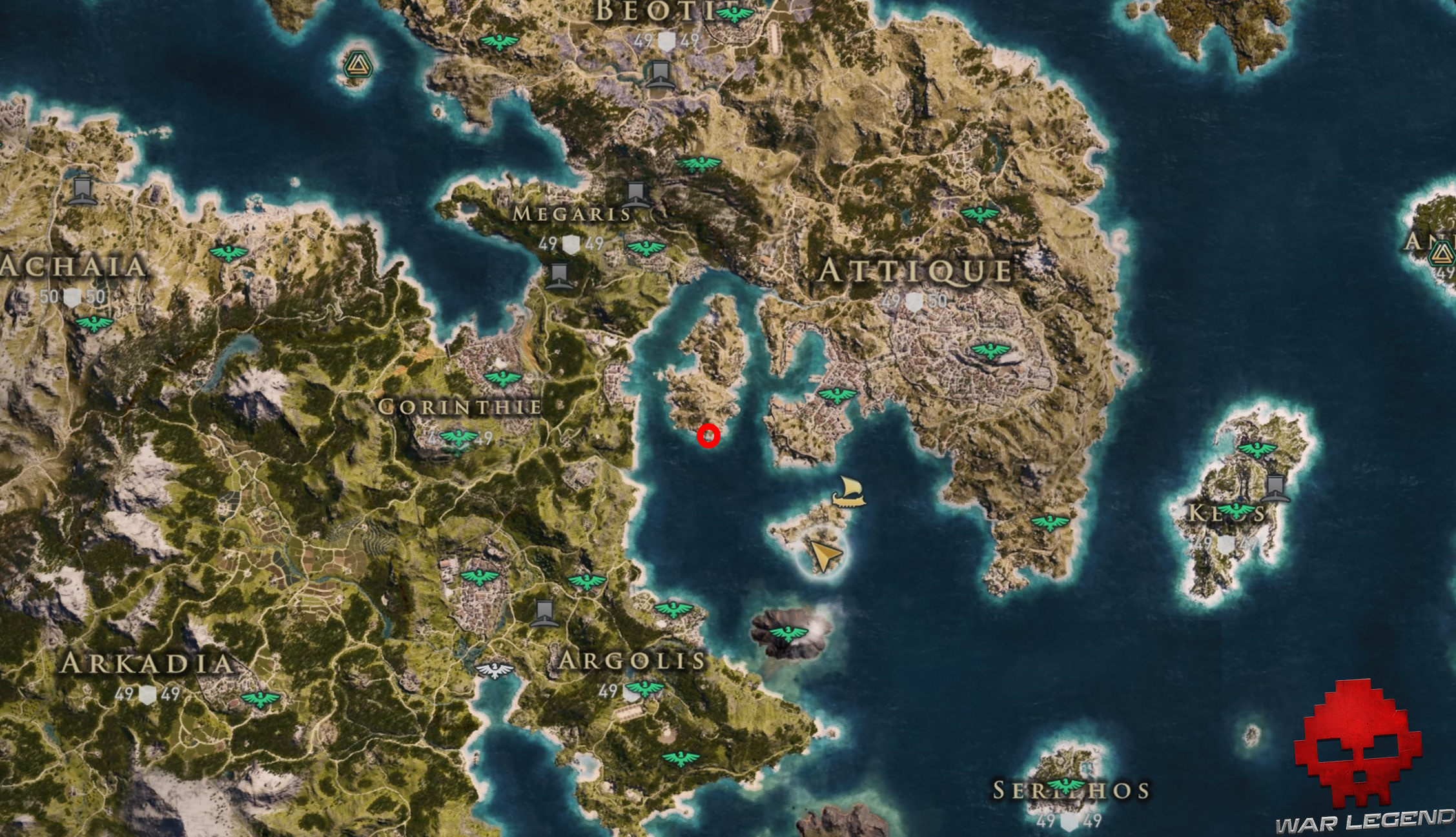 Guide assassin's creed odyssey xenia carte emplacement plume d'or