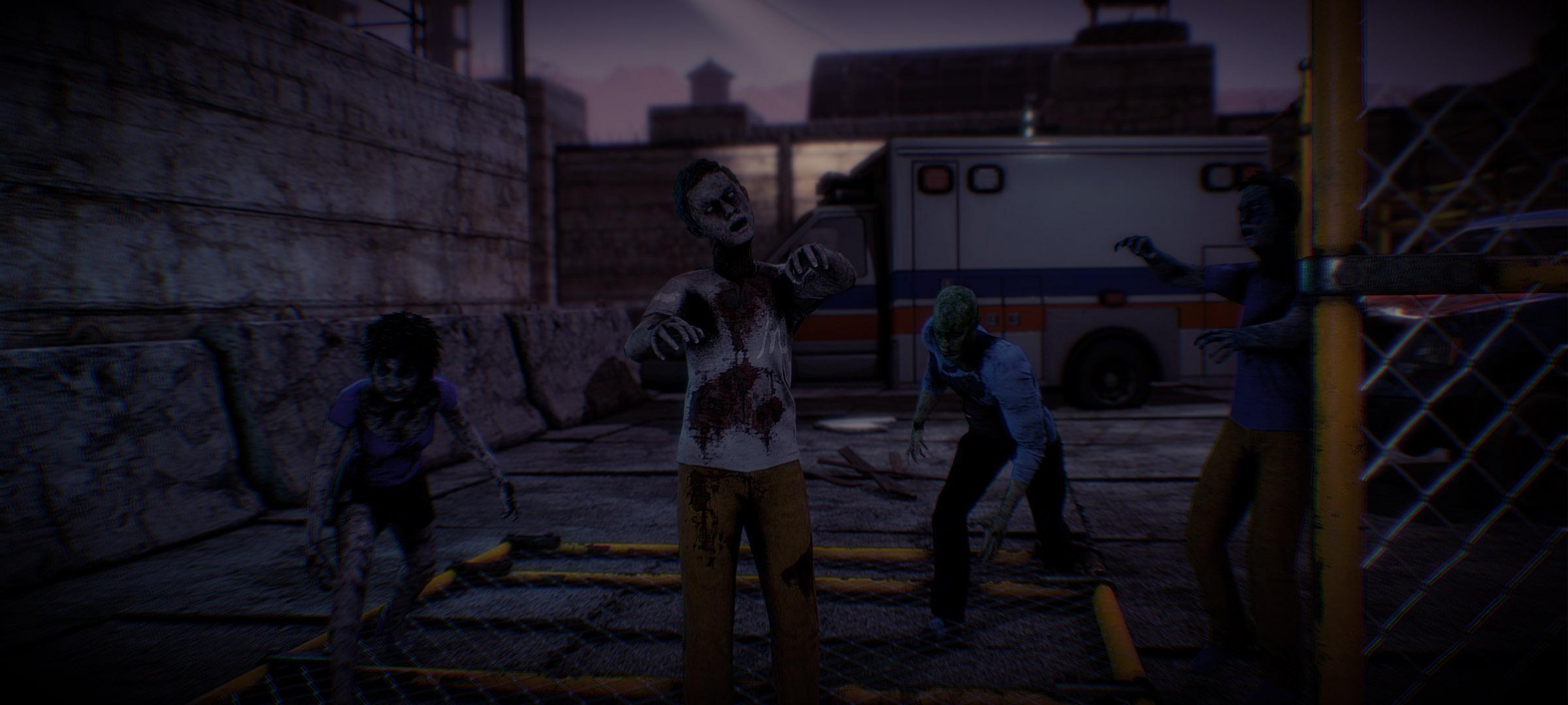 arizona sunshine, tombée de la nuit, trois zombies avançant