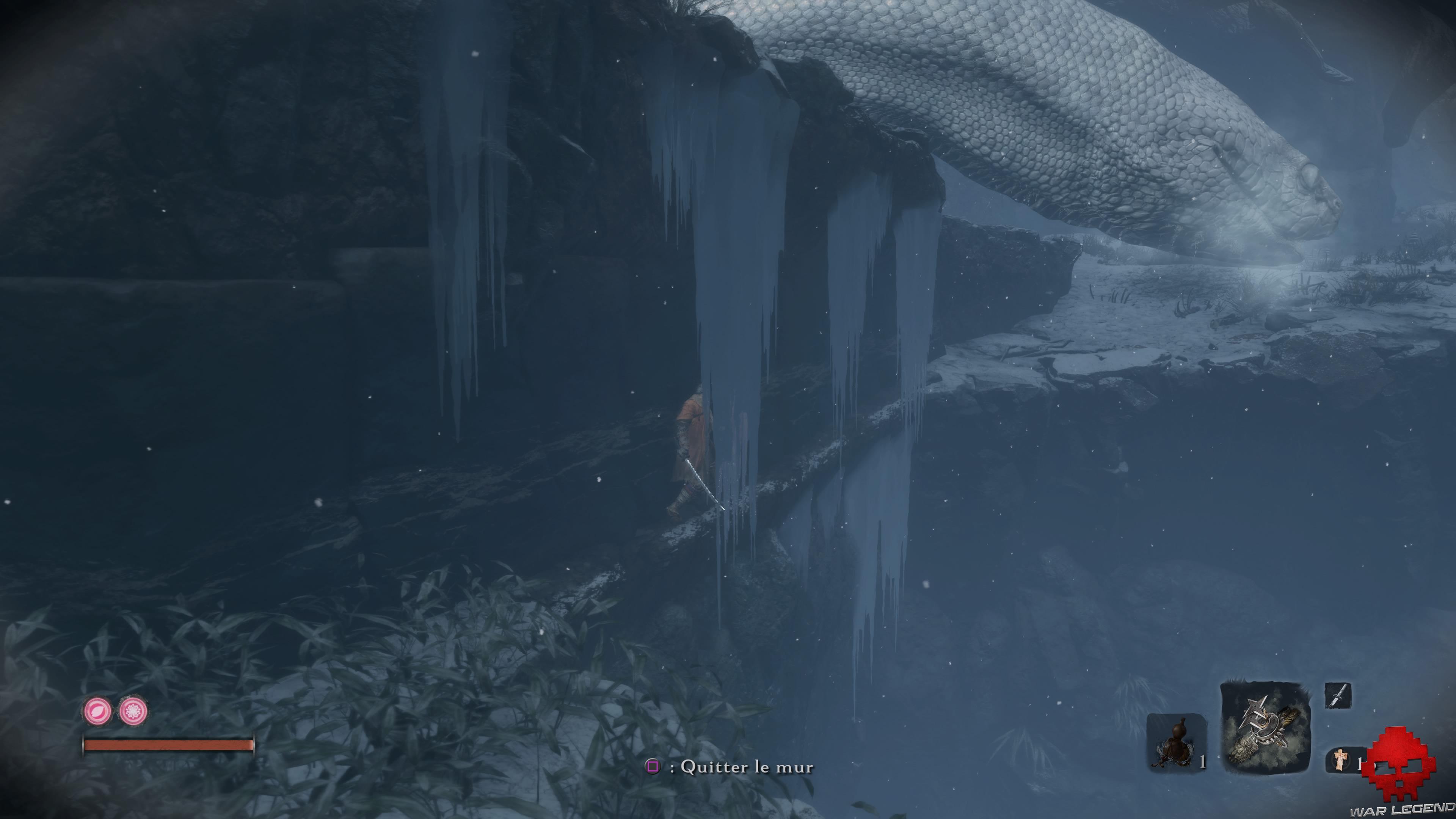 Soluce Sekiro les alentours d'ashina sekiro caché derrière mur de glace
