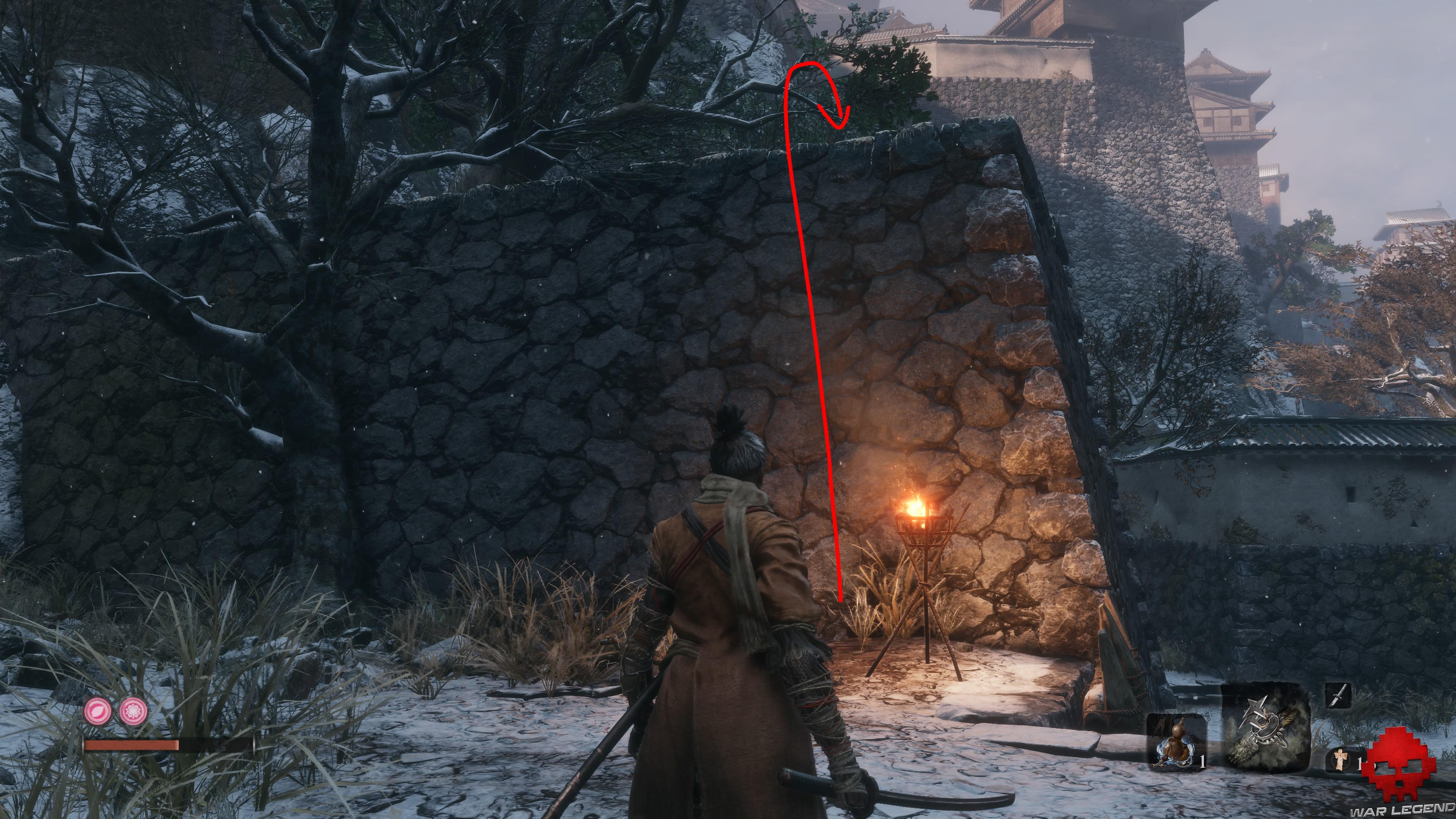 Soluce Sekiro les alentours d'ashina mur à grimper