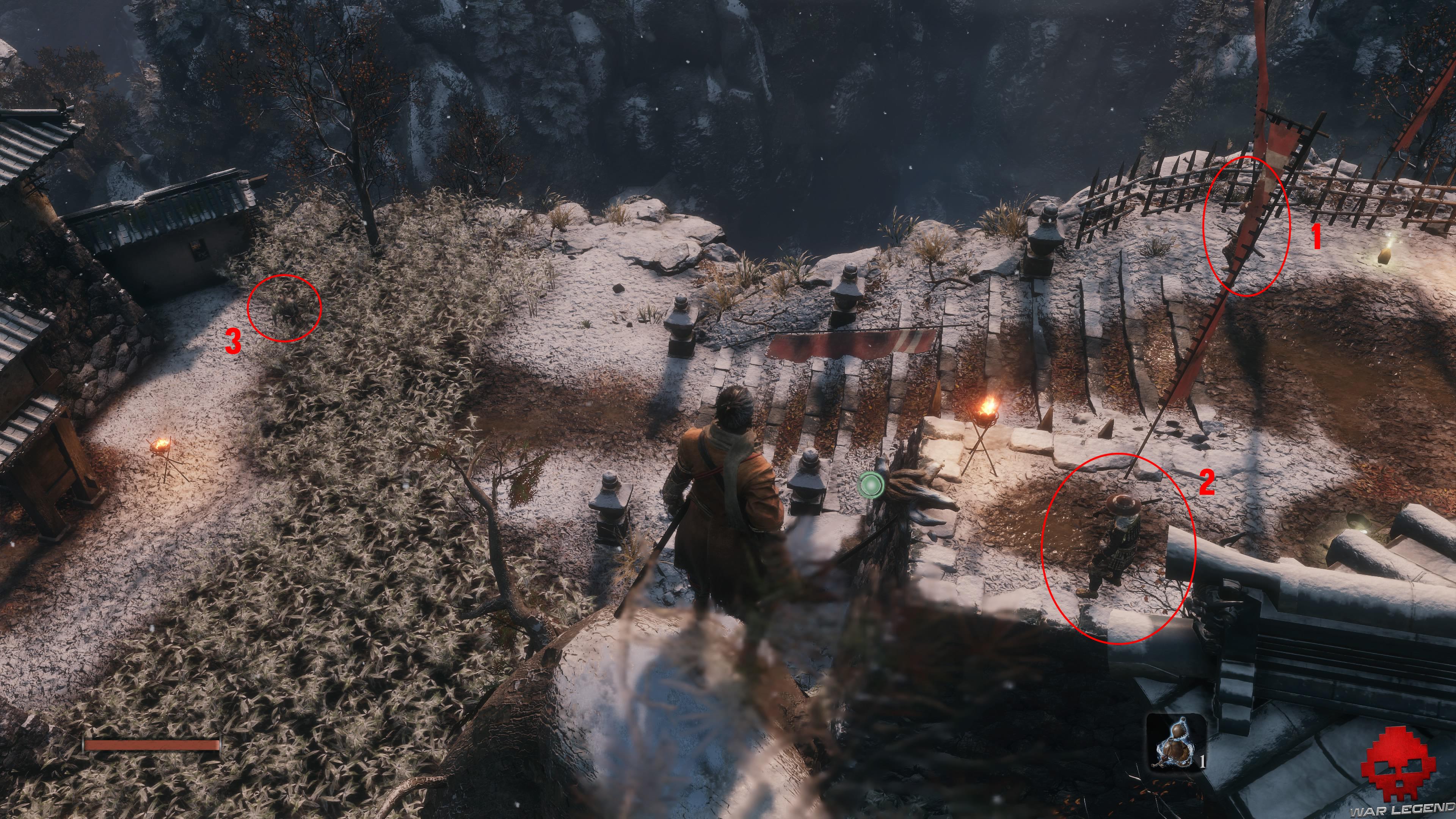 Soluce Sekiro les alentours d'ashina partie 1 gardes à éliminer
