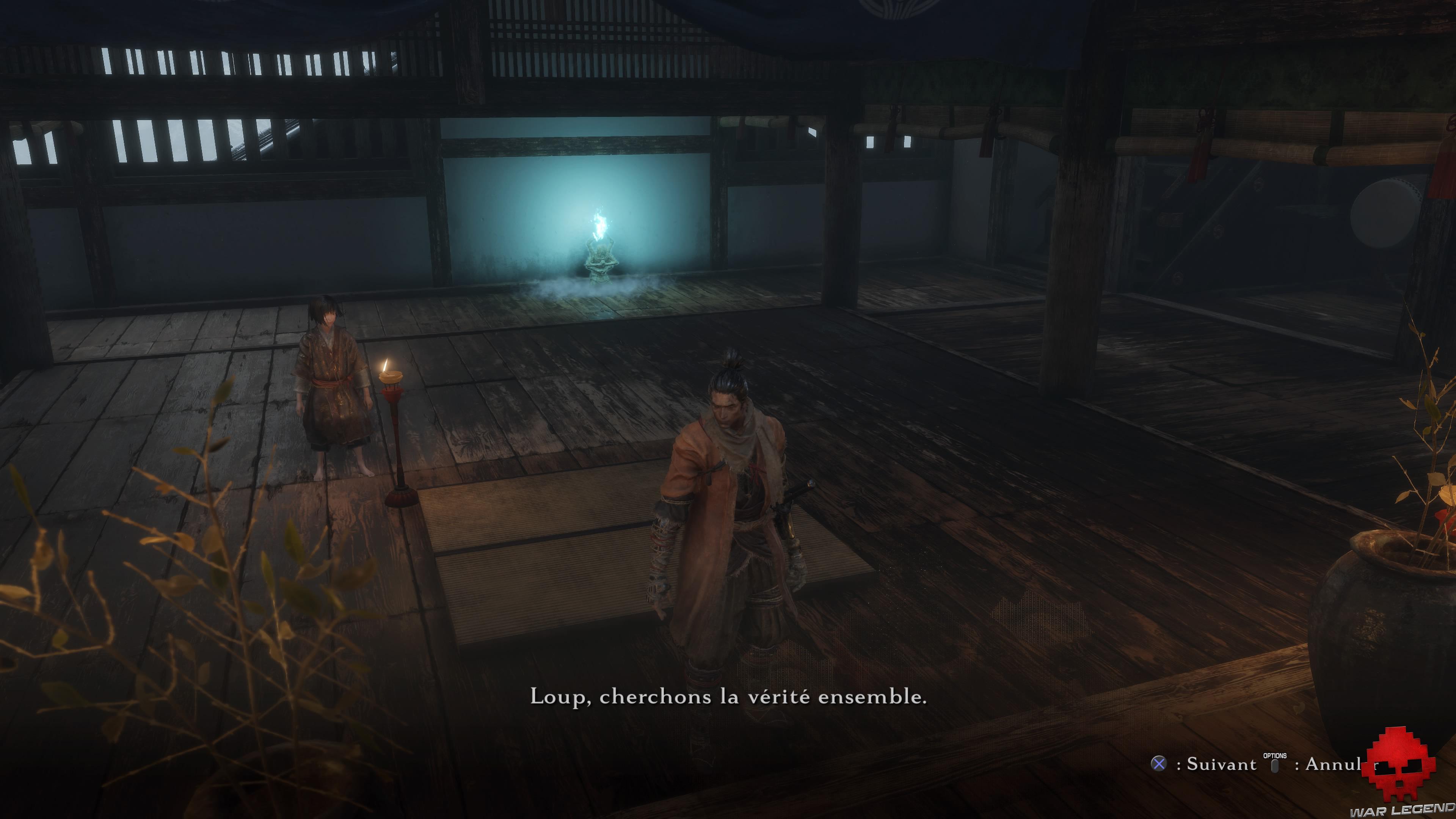 Test Sekiro Château Ashina conversation avec kuro