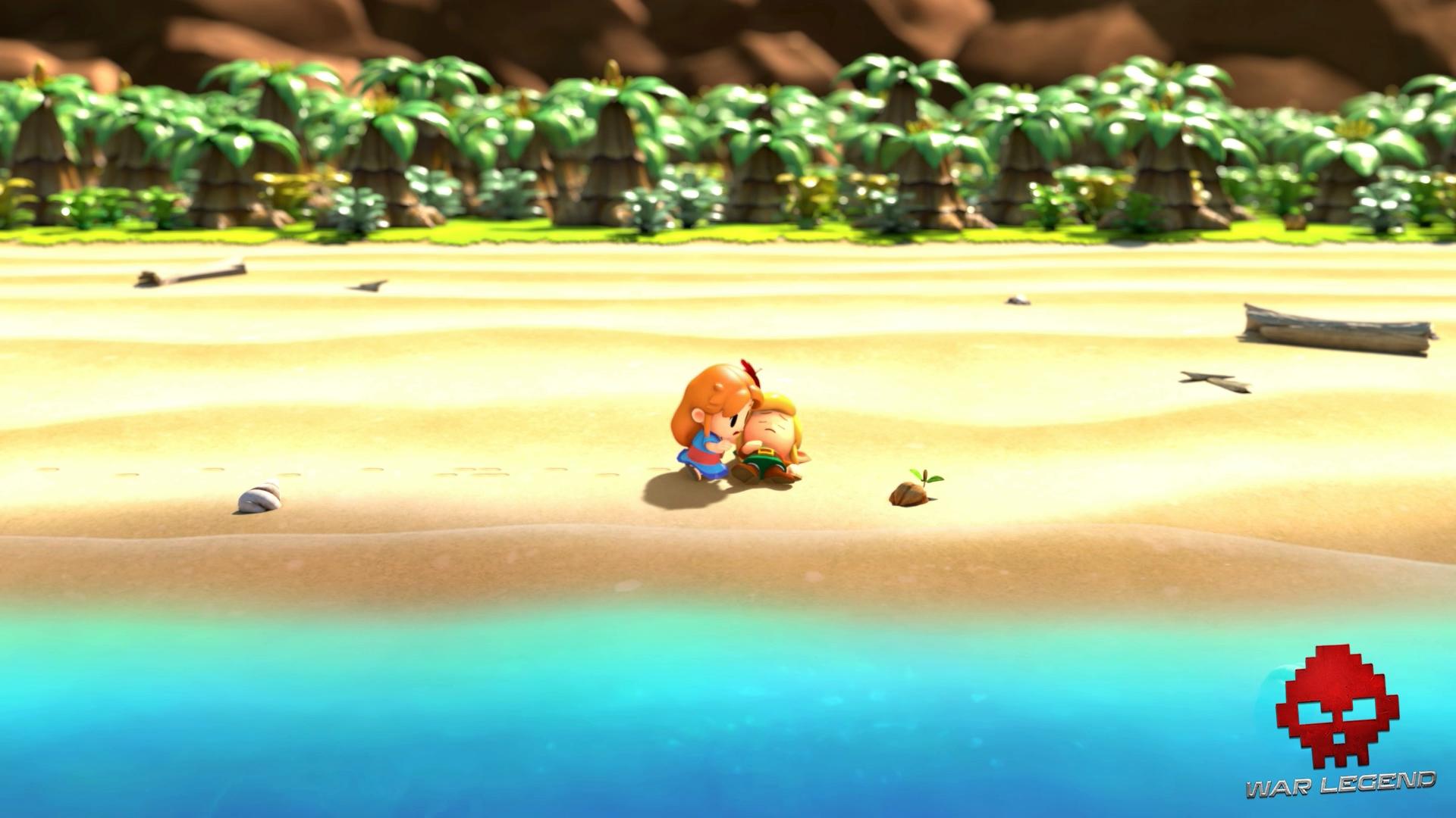 Test The Legend of Zelda: Link's Awakening - Marine trouve Link sur la plage