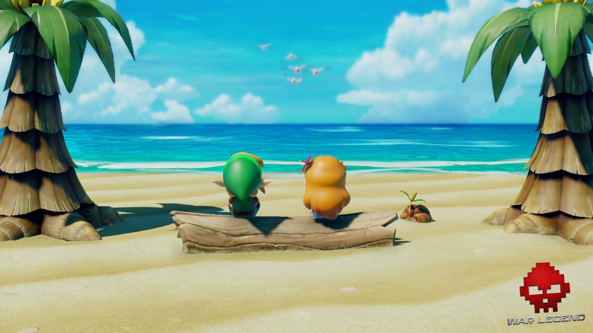 Test The Legend of Zelda: Link's Awakening - Marine et Link sur la plage.