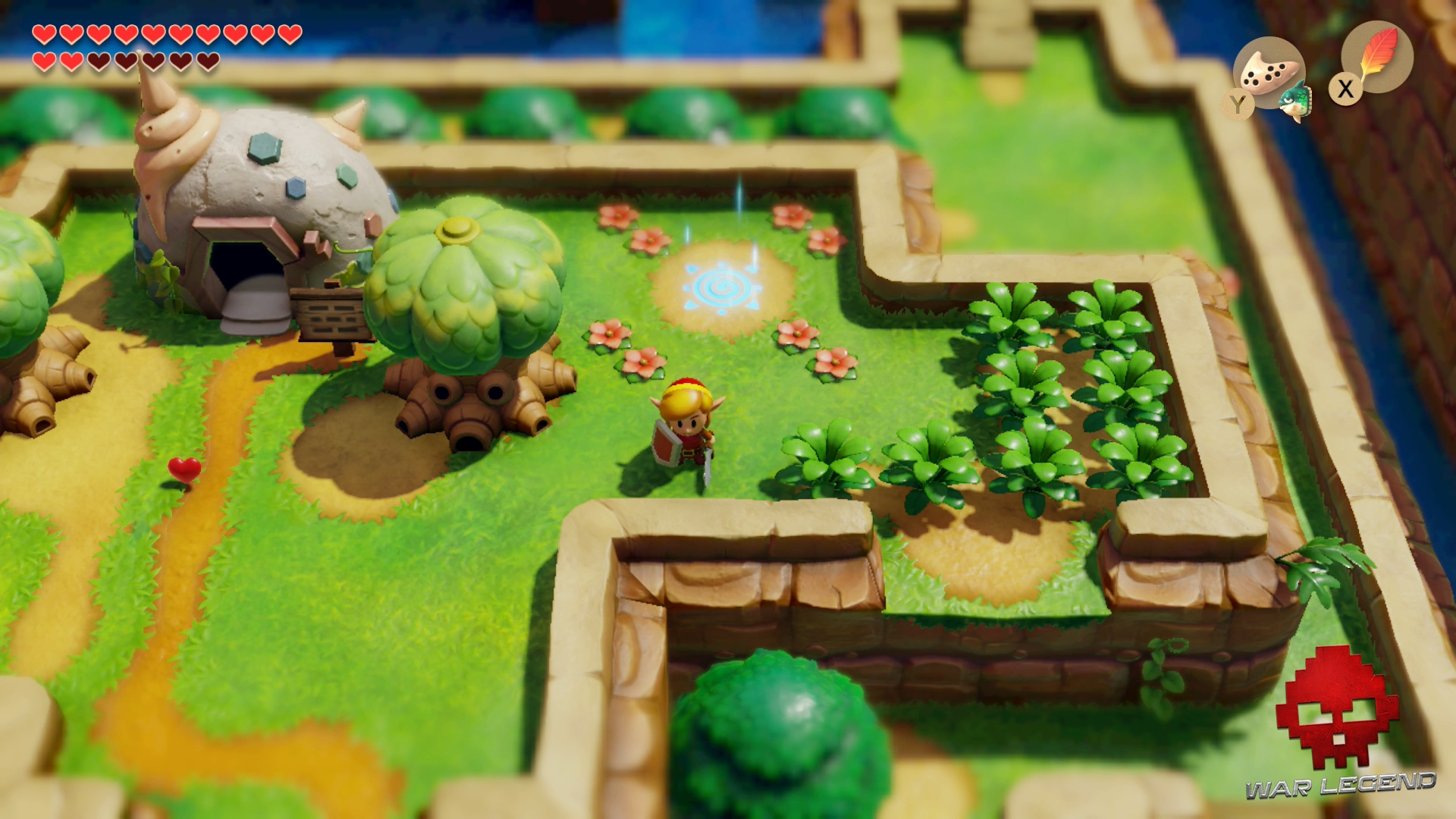 link entre arbre et fourrés - The Legend of Zelda: Link's Awakening
