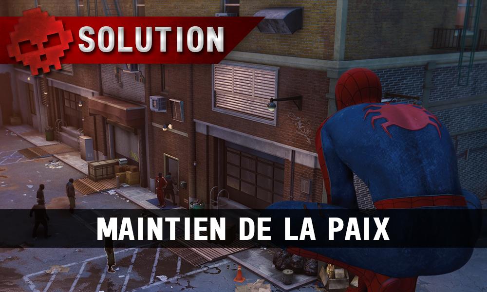 Vignette solution Maintien de la paix spider-man perché au-dessus d'ennemis