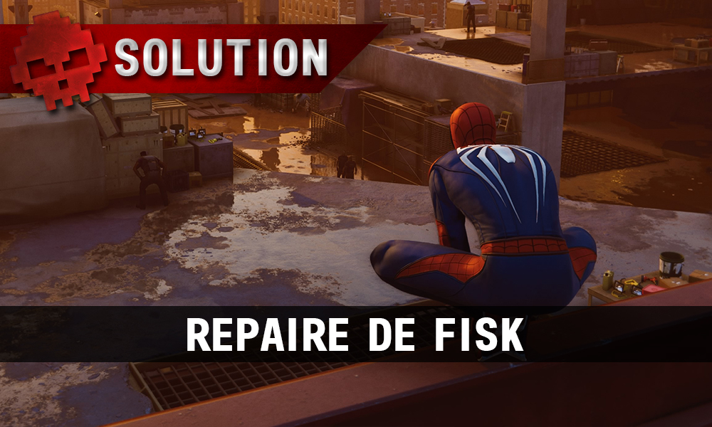 Vignette solution repaire de fisk spider-man perché au-dessus d'un chantier