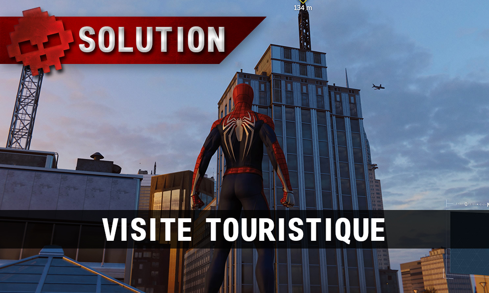 Vignette solution Spider-Man visite touristique Spider-Man devant gratte-ciel