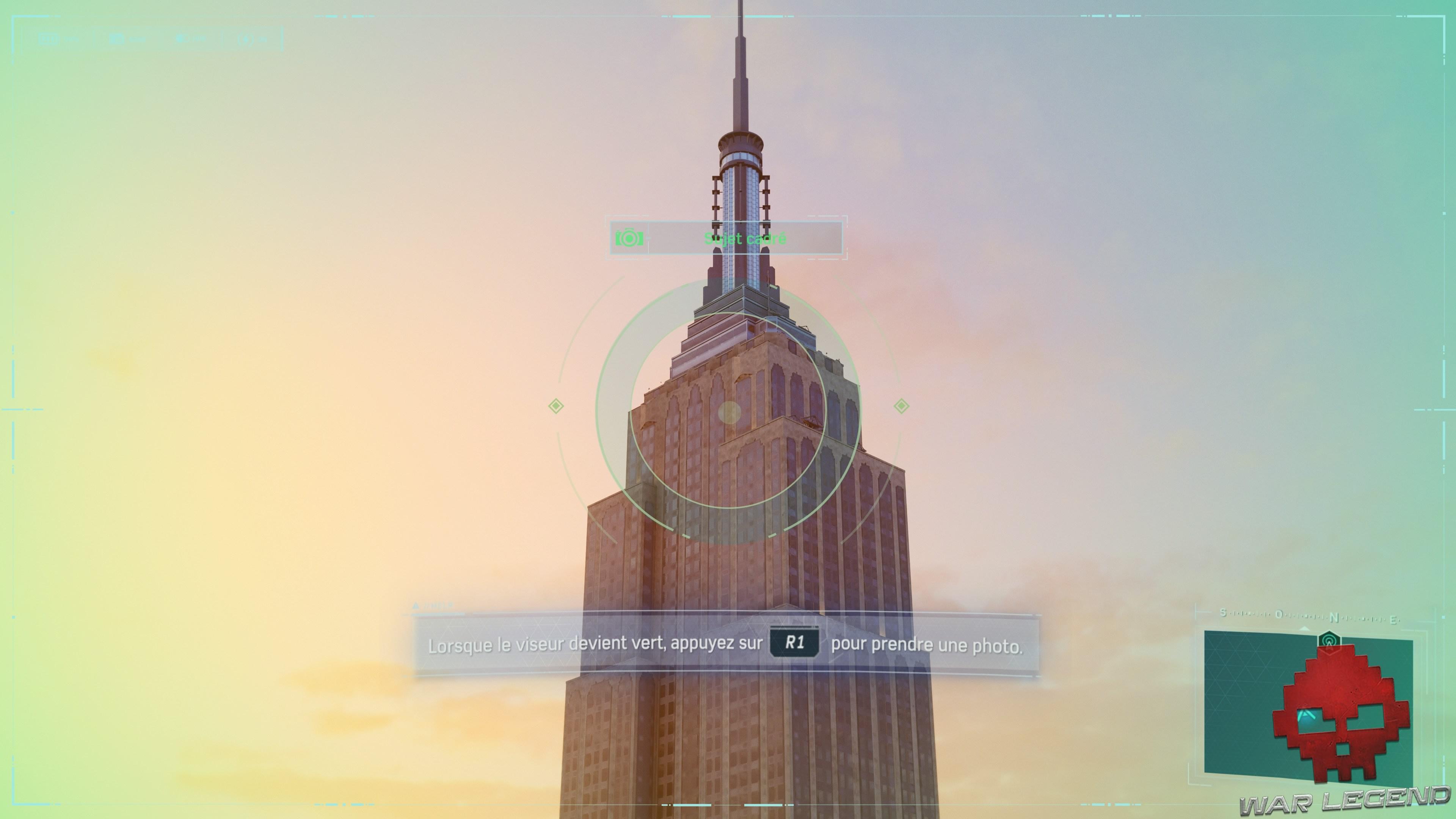 L'Empire State building est bien cadré dans l'appareil photo