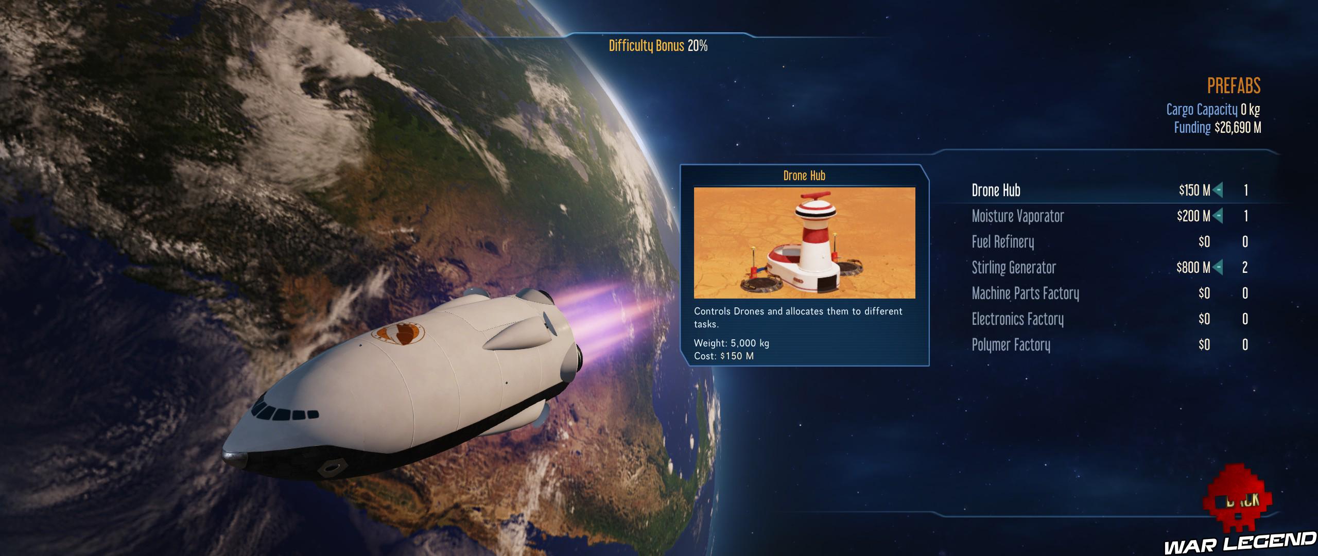 Guide Surviving Mars contenu du cargo de la fusée
