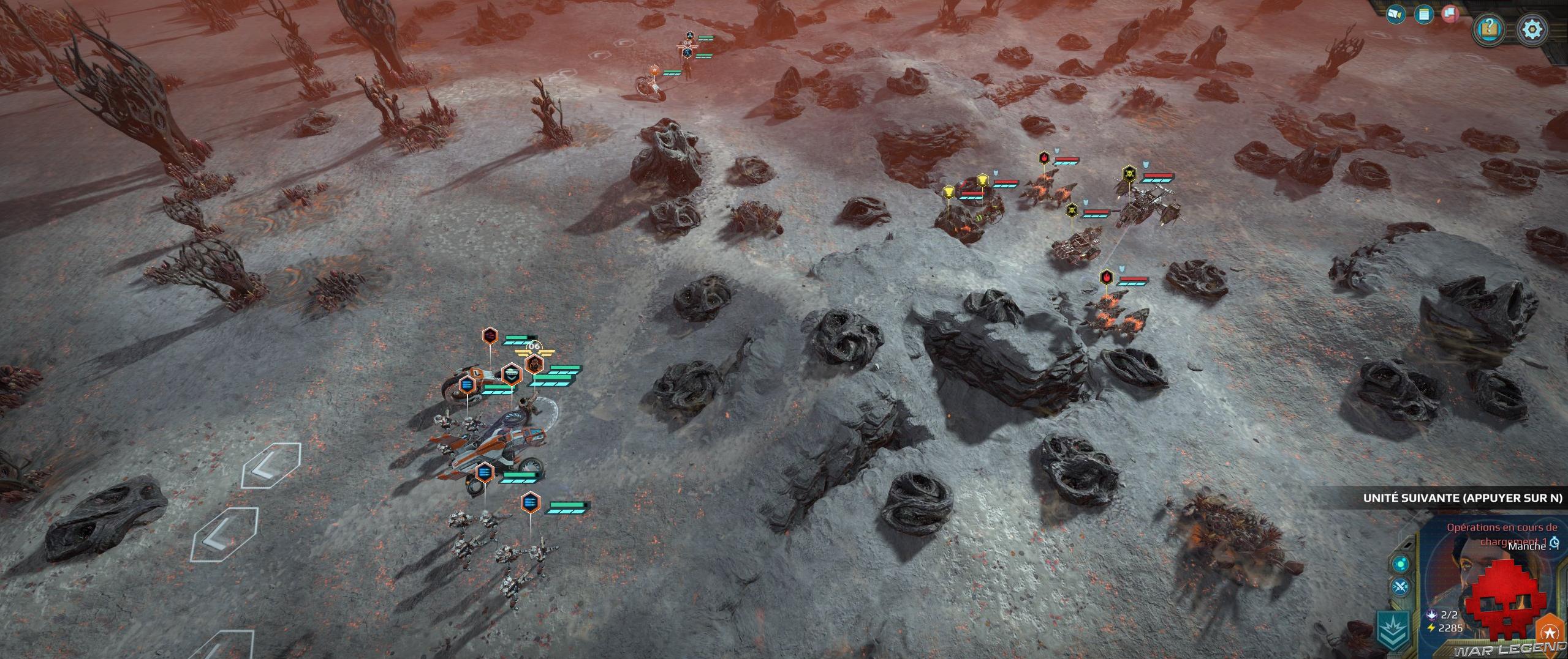 Test Age of Wonders Planetfall champ de bataille désolé