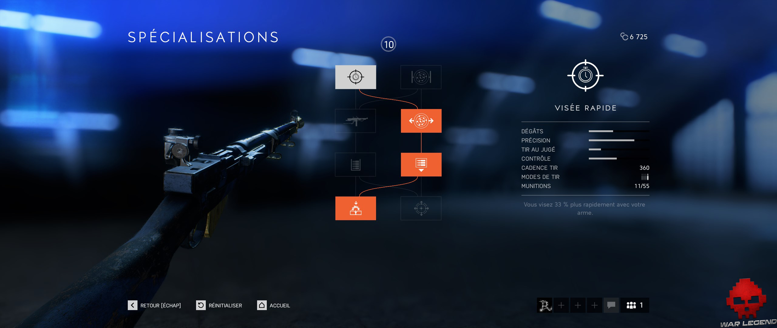 Test Battlefield V - Arbre de talents arme