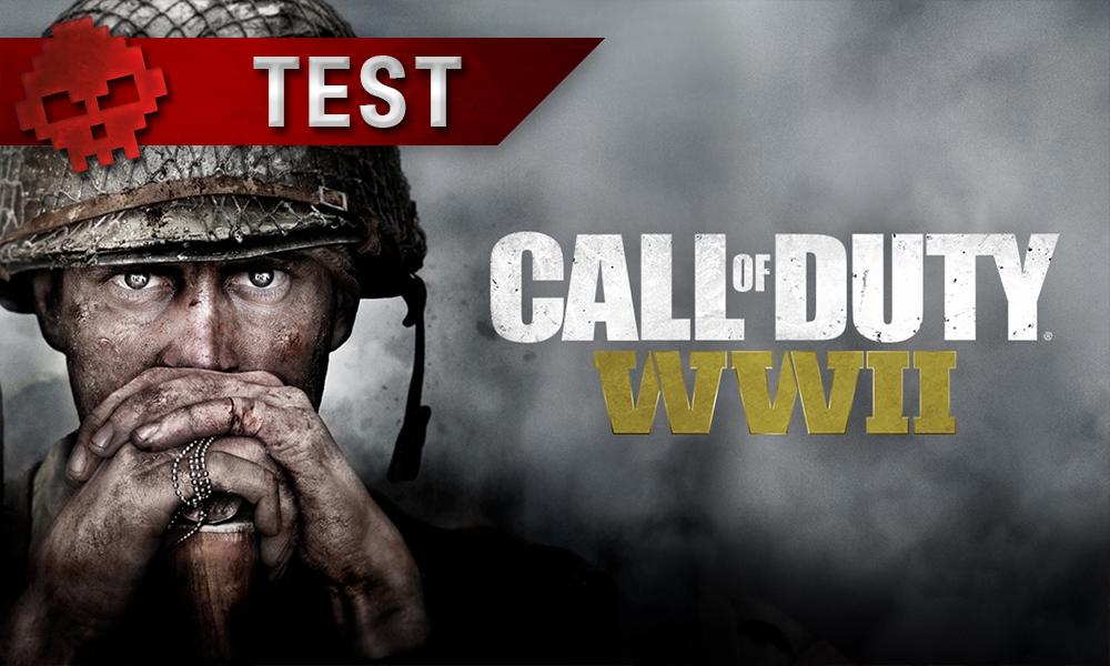 gros plan visage soldat, mains croisées sur la crosse de son fusil planté dans le sol, logo Call of Duty World War II