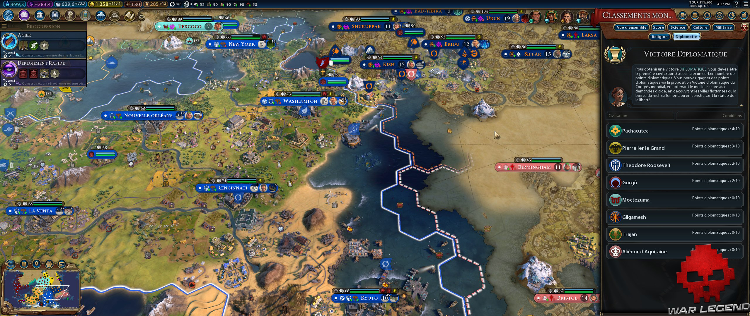 Test Civilization VI Gathering Storm points de victoire diplomatique