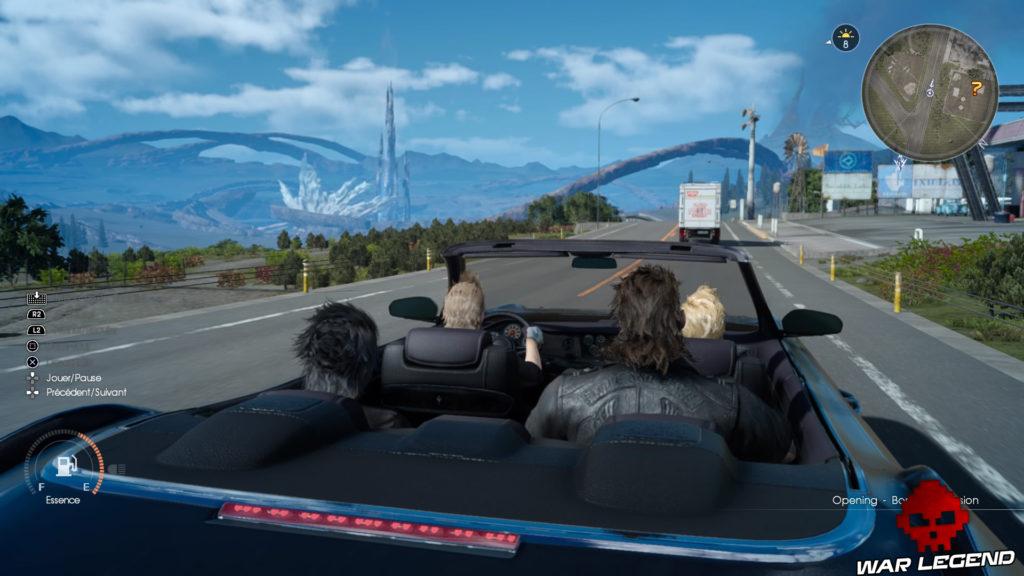 Test Final Fantasy XV personnages dans une voiture, paysage météorite