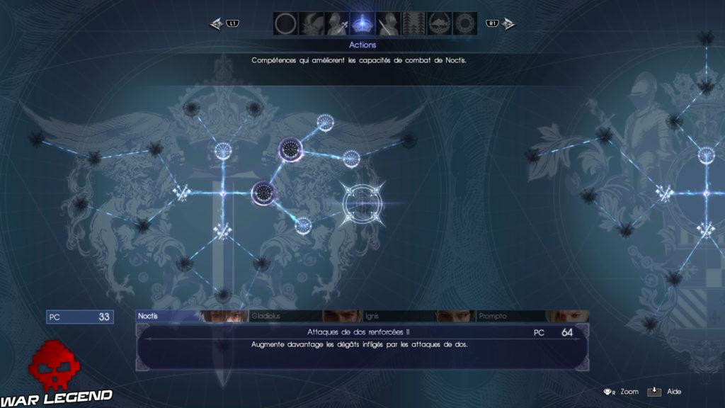 Test Final Fantasy XV arbre de compétences