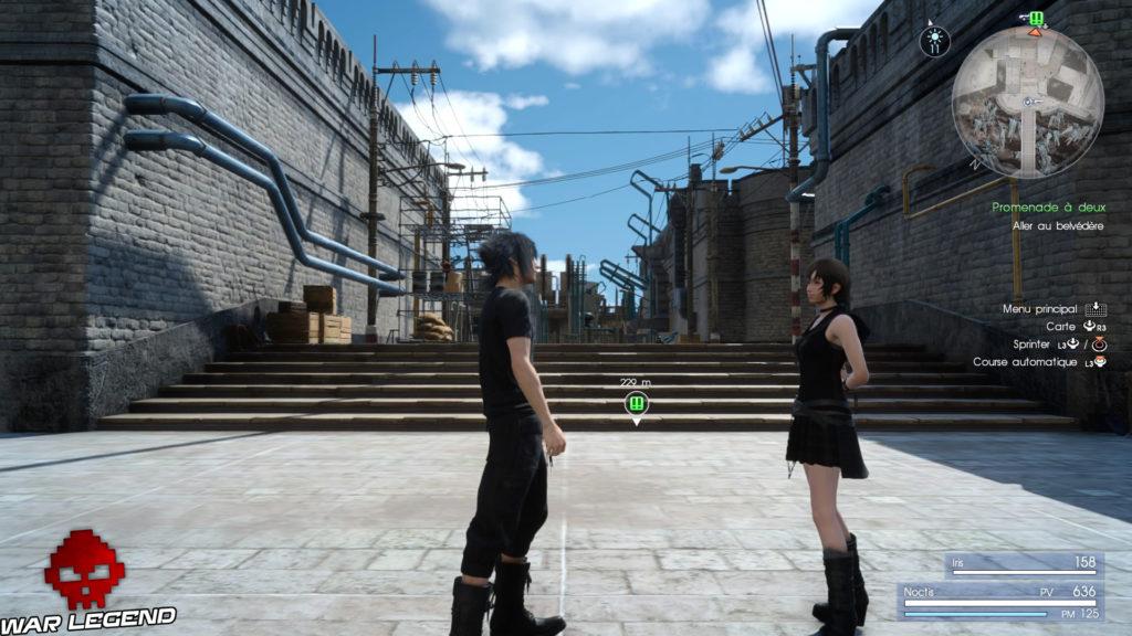 Test Final Fantasy XV personnages dans une rue