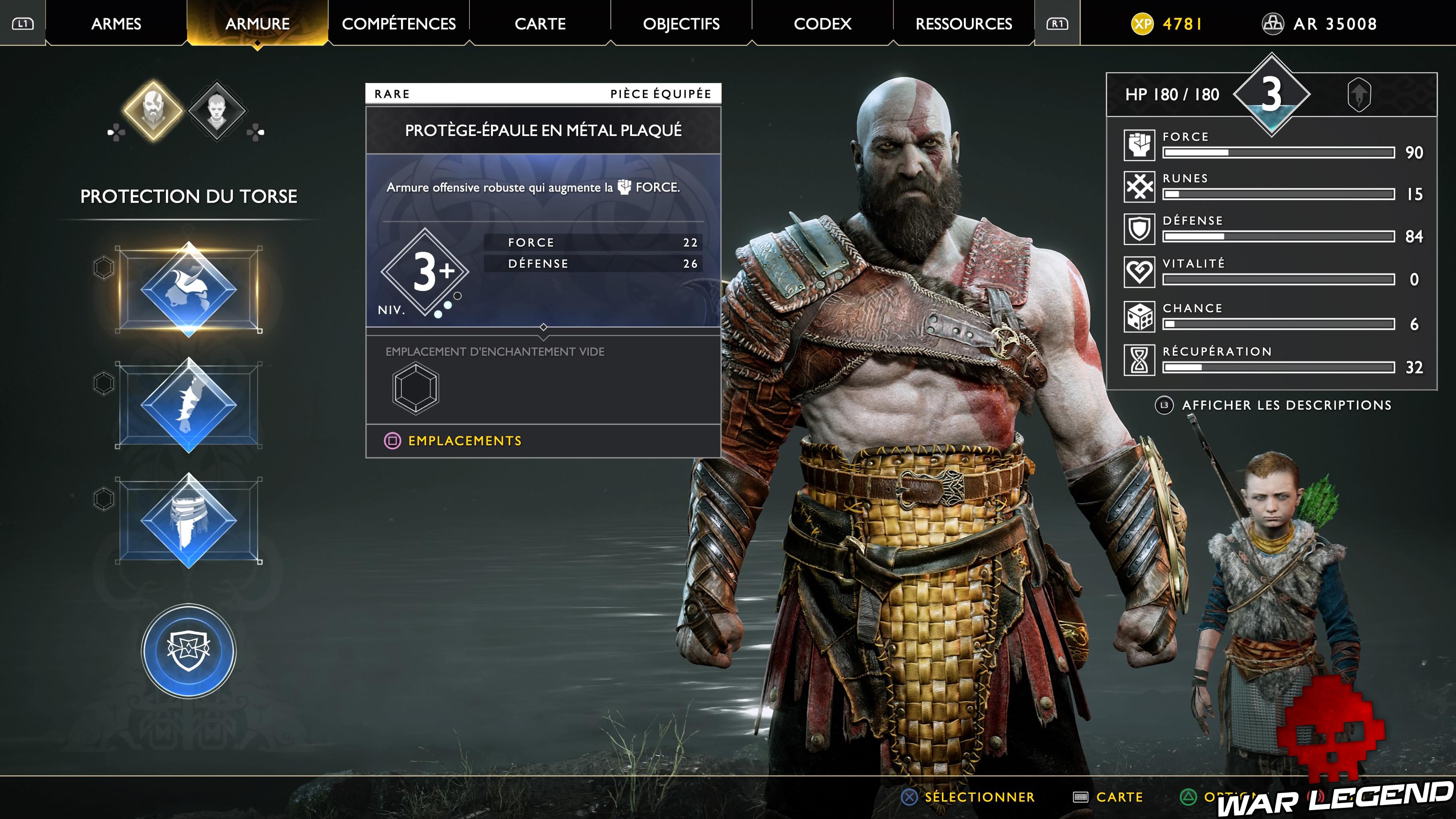 menu armure god of war