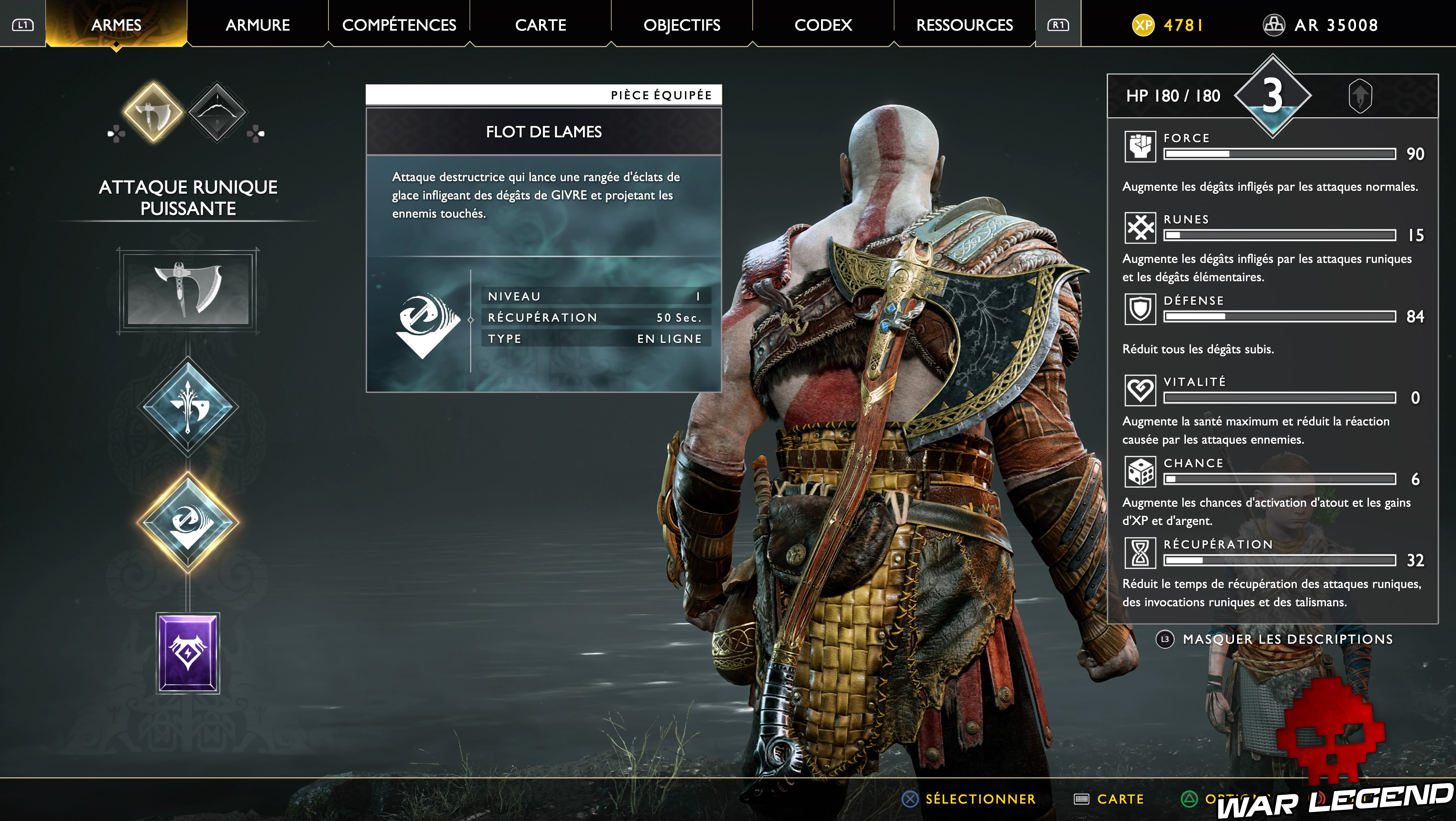 test god of war menu armes