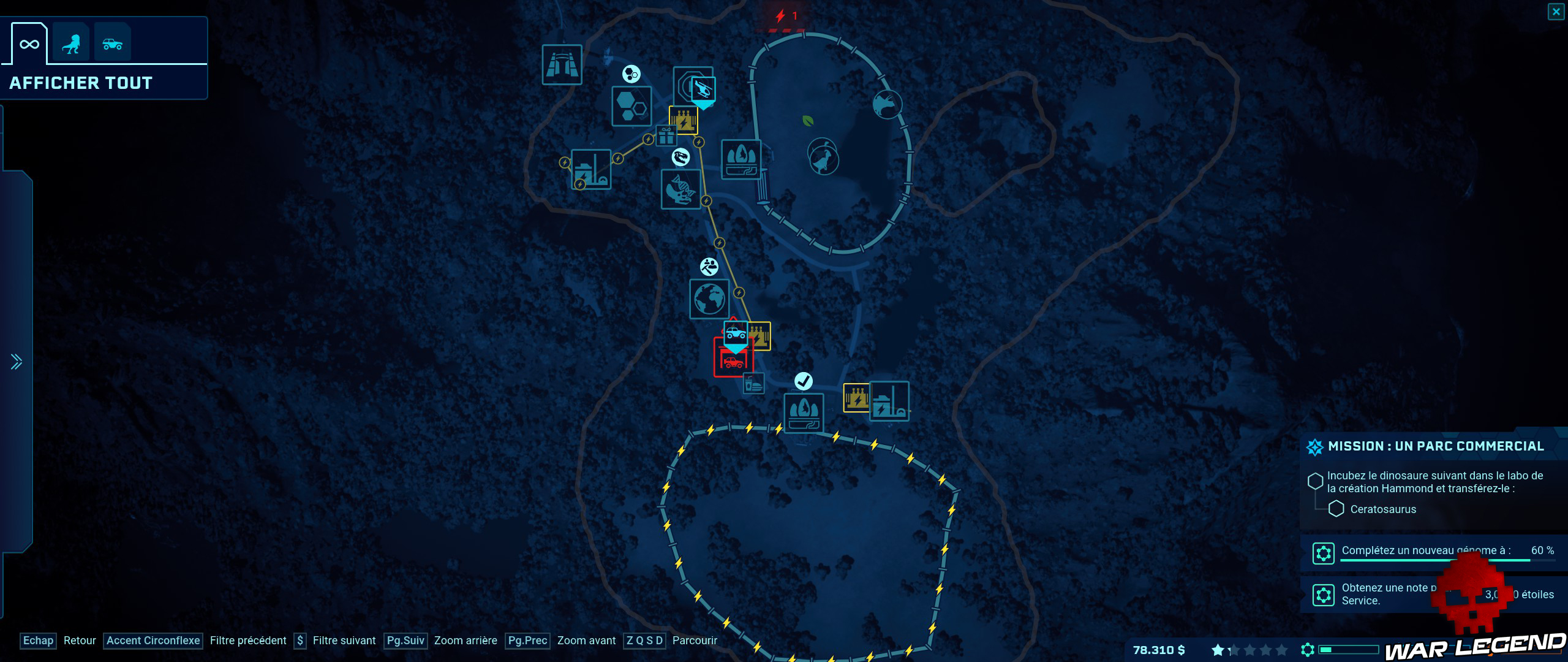 Test Jurassic World Evolution carte globale