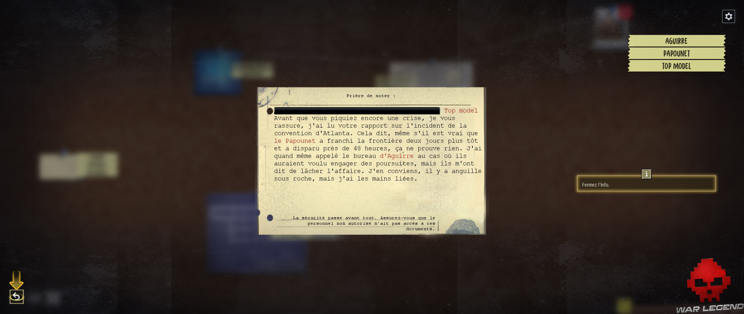 Test Phantom Doctrine document secret, mots mystères