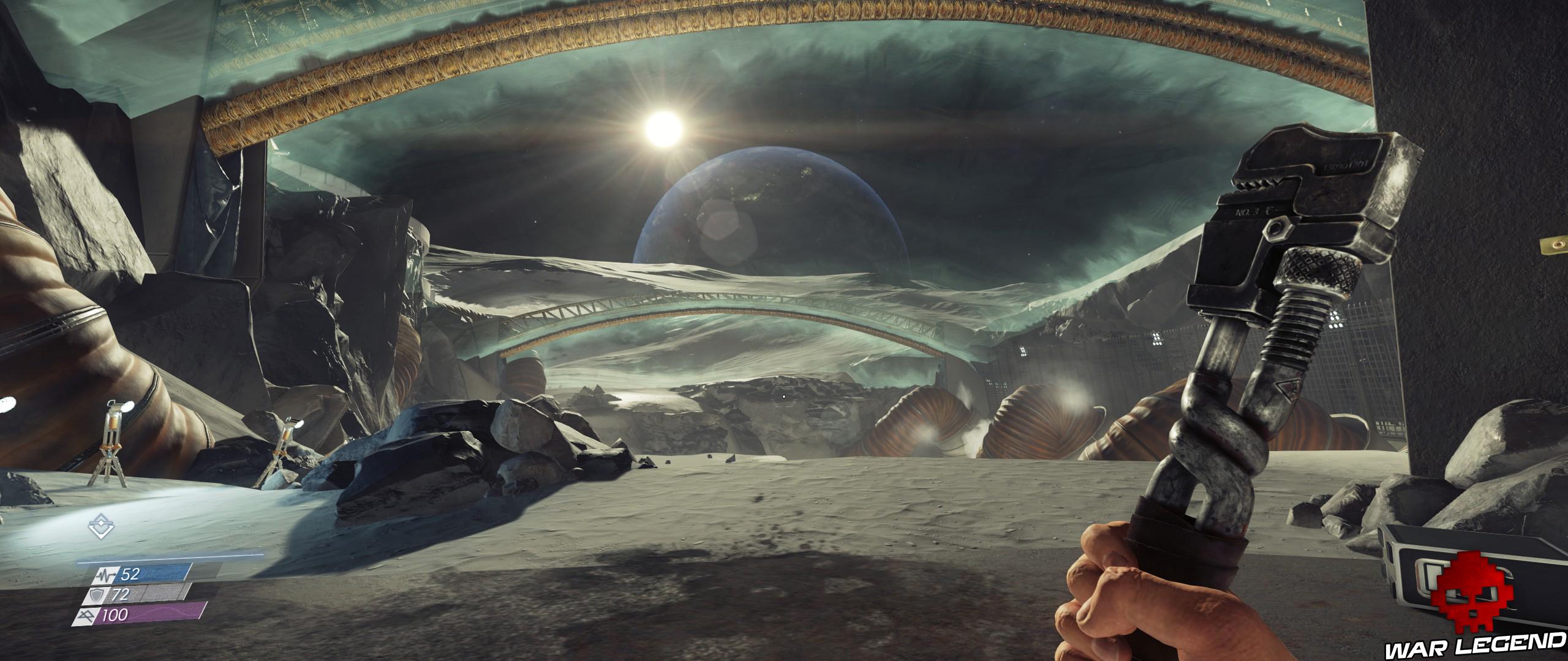 Test Prey Mooncrash dôme base lunaire, vue sur la Terre