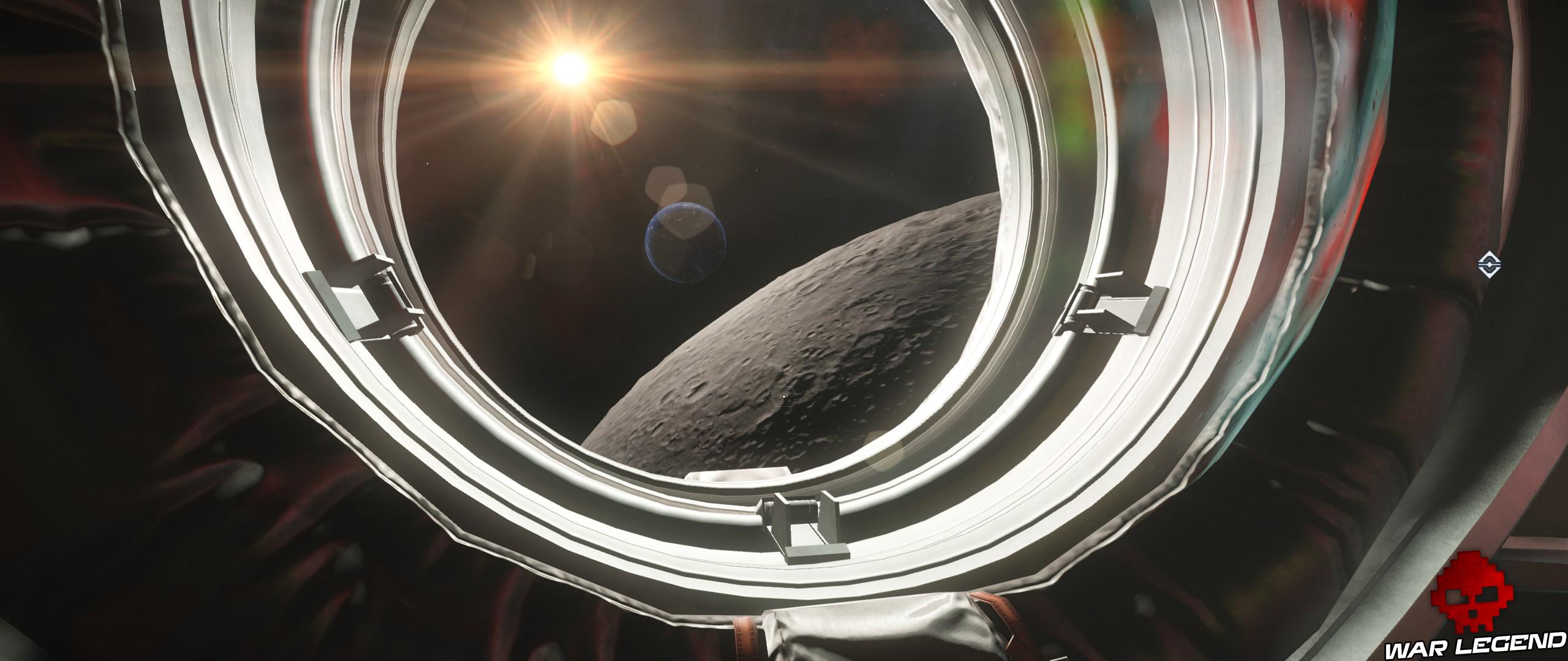Test Prey Mooncrash vue sur la lune depuis hublot