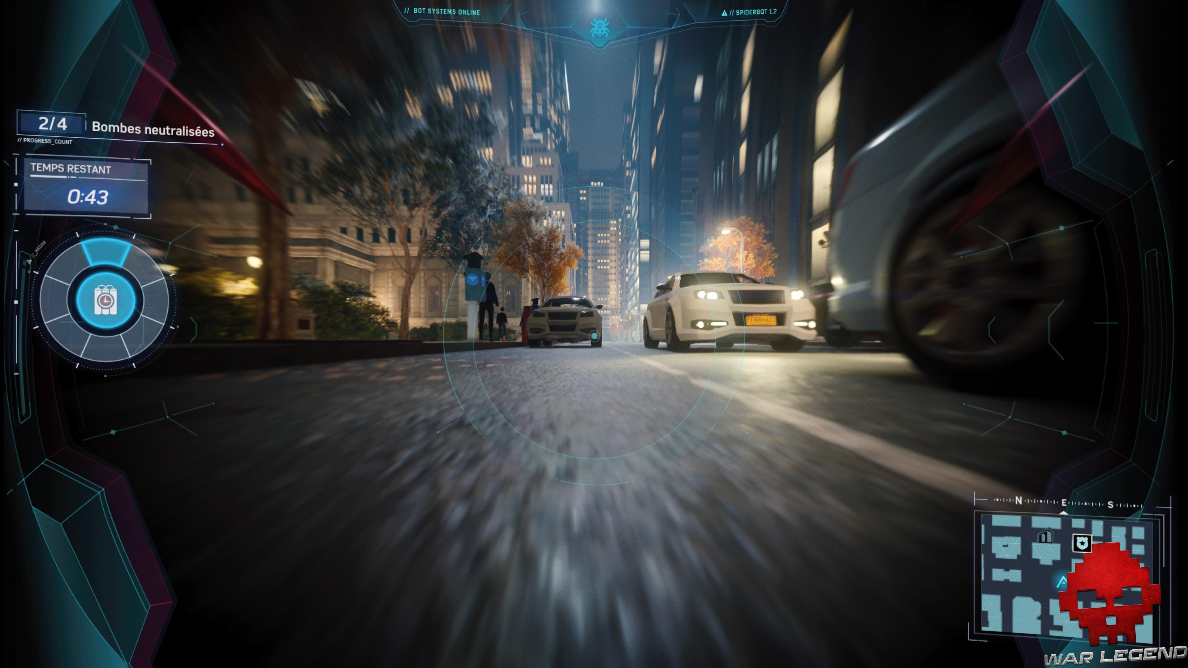 Test Spider-Man: Le Casse spider-drone au ras des voitures