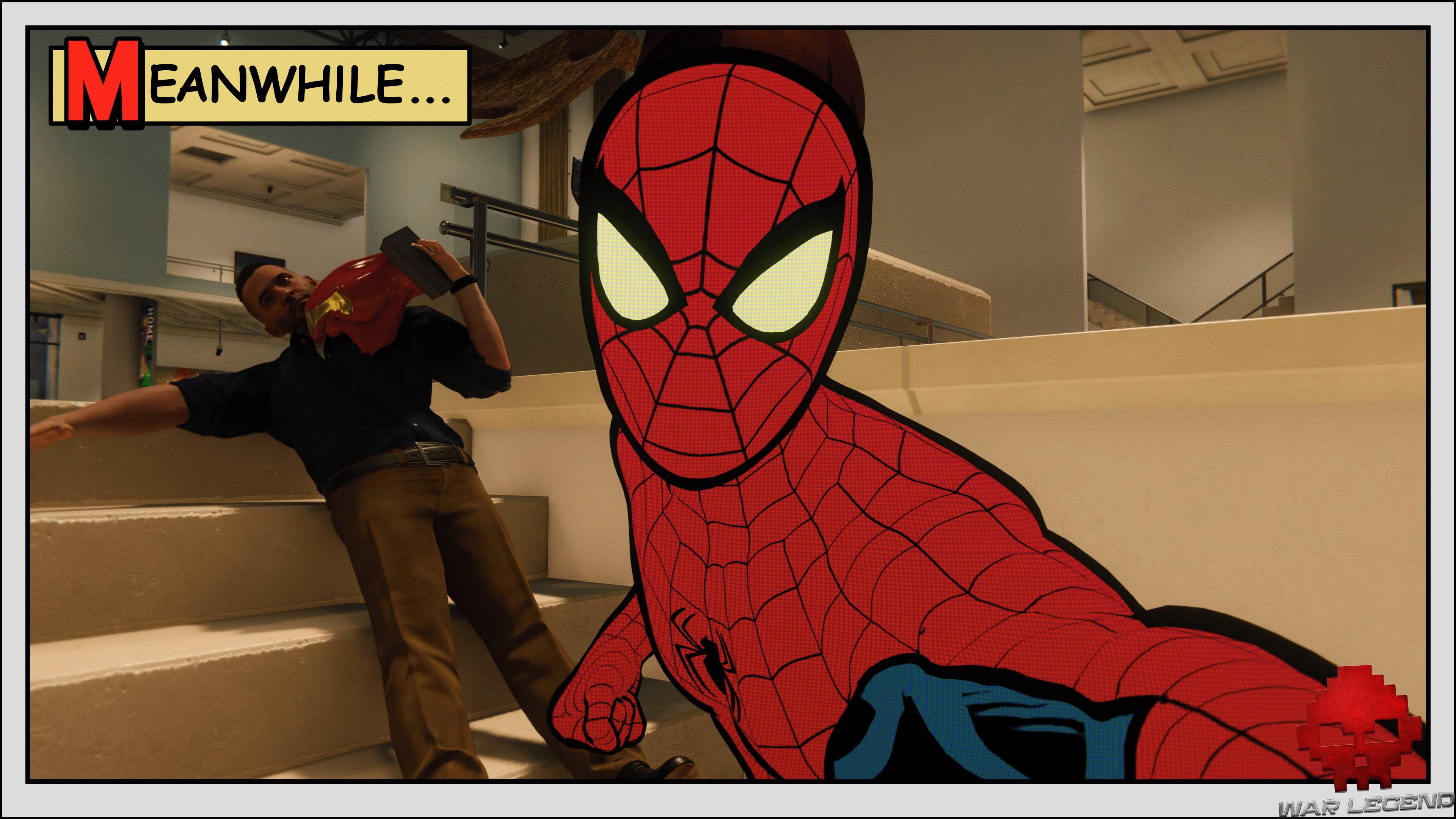 Test Spider-Man: Le Casse selfie spider-man devant ennemi assommé