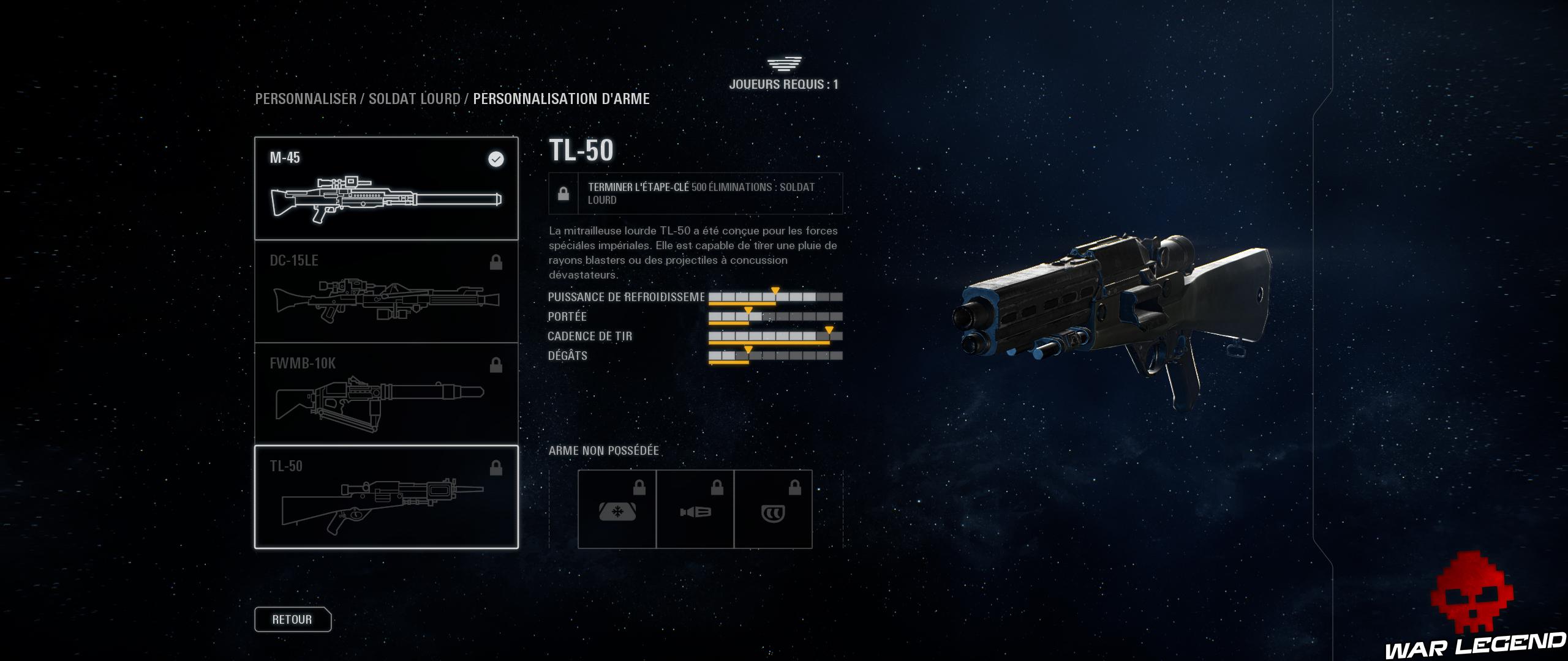 fenêtre de description d'une arme