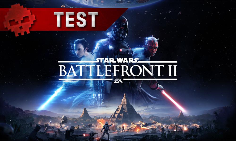 test star wars battlefront, vignette comprenant logo du jeu et trois personnages : rey, un trooper noir et dark maul