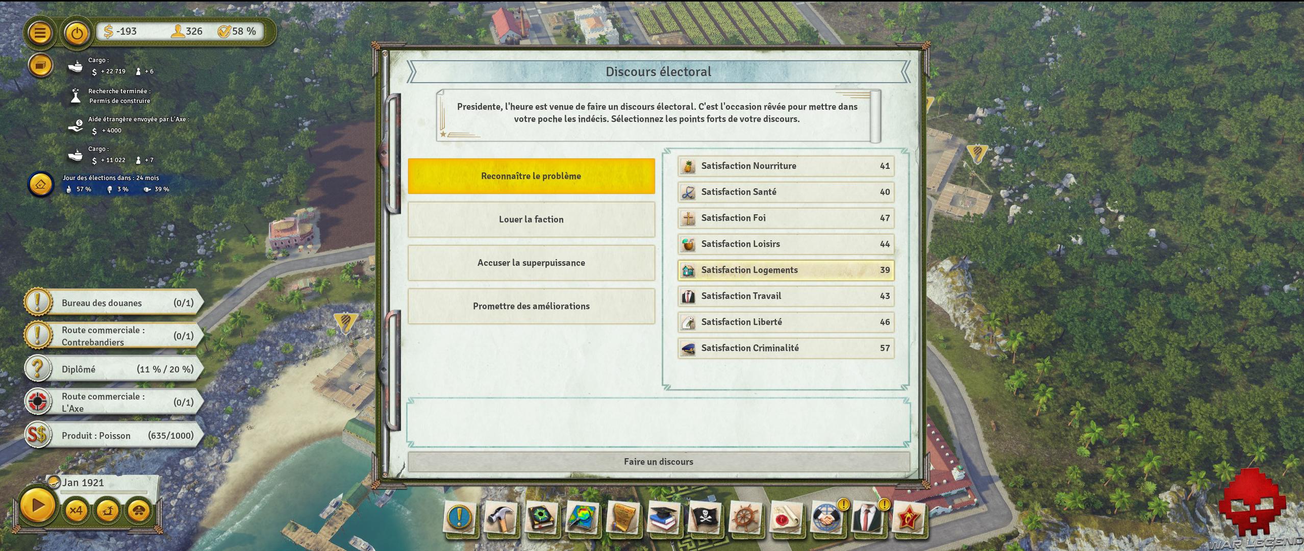 Test Tropico 6 discours électoral