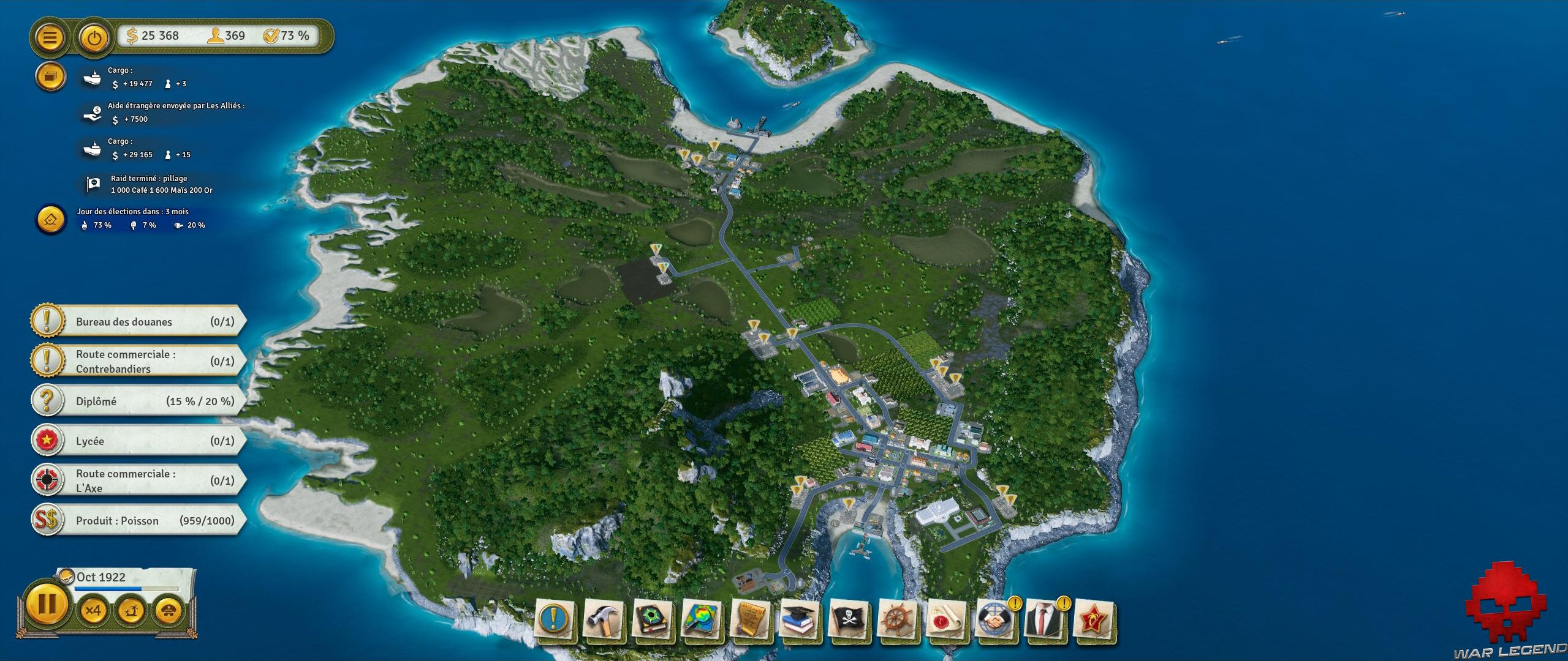 Test Tropico 6 vue de l'archipel