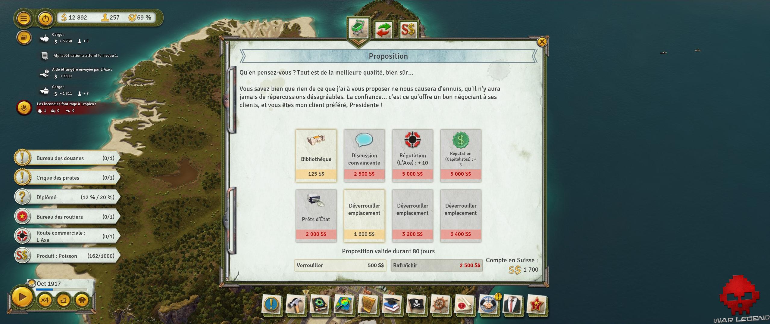 Test Tropico 6 écran négociant