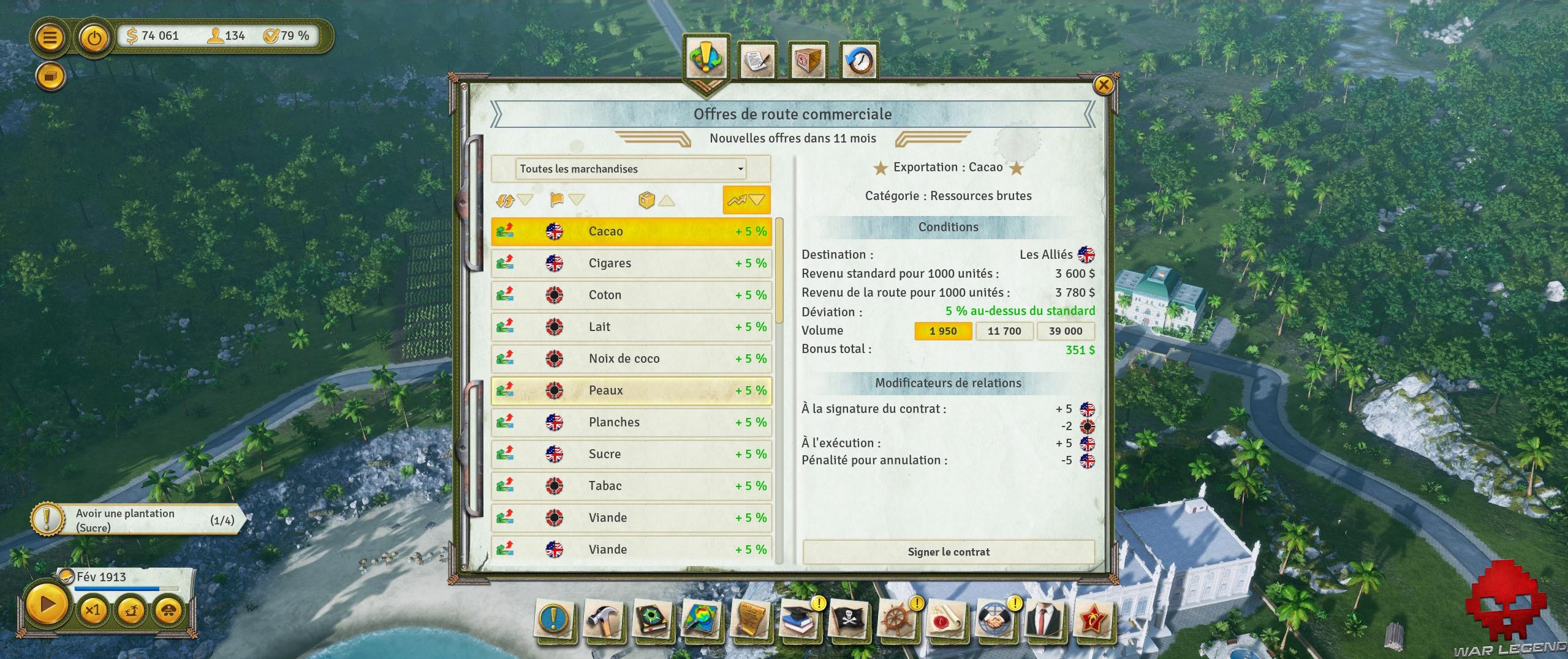 Test Tropico 6 exportations