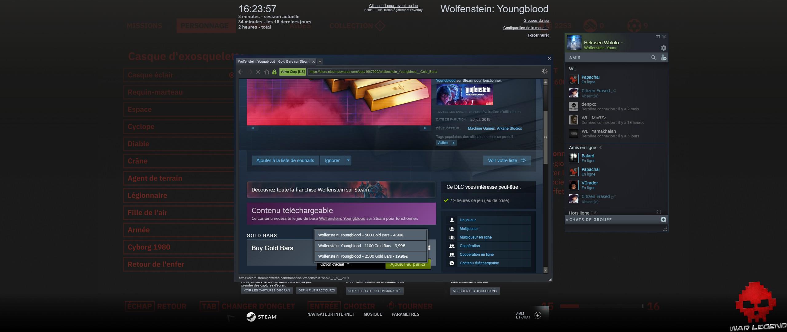Test Wolfenstein Youngblood - écran achat gold bars