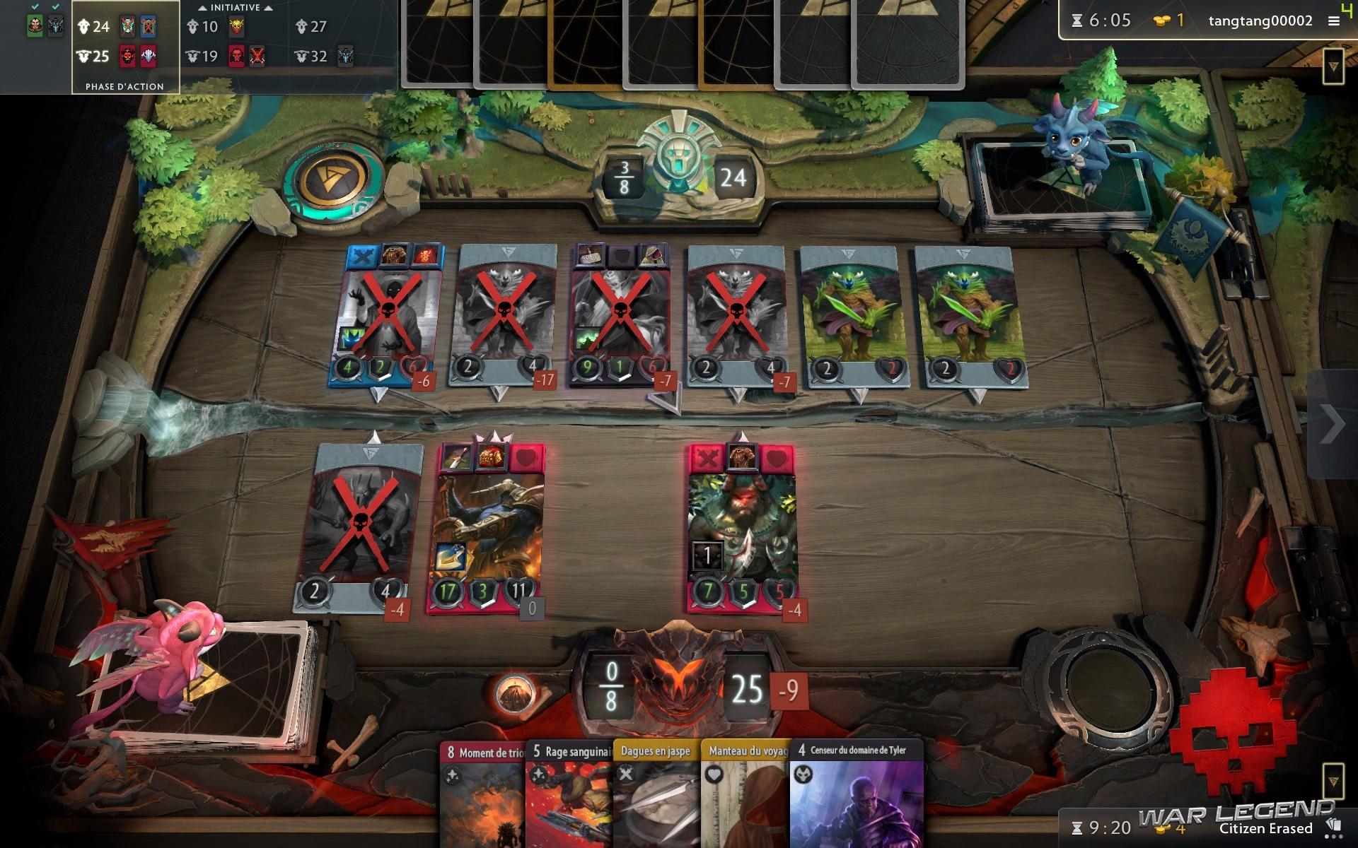 test Artifact plateau de jeux avec beaucoup de cartes