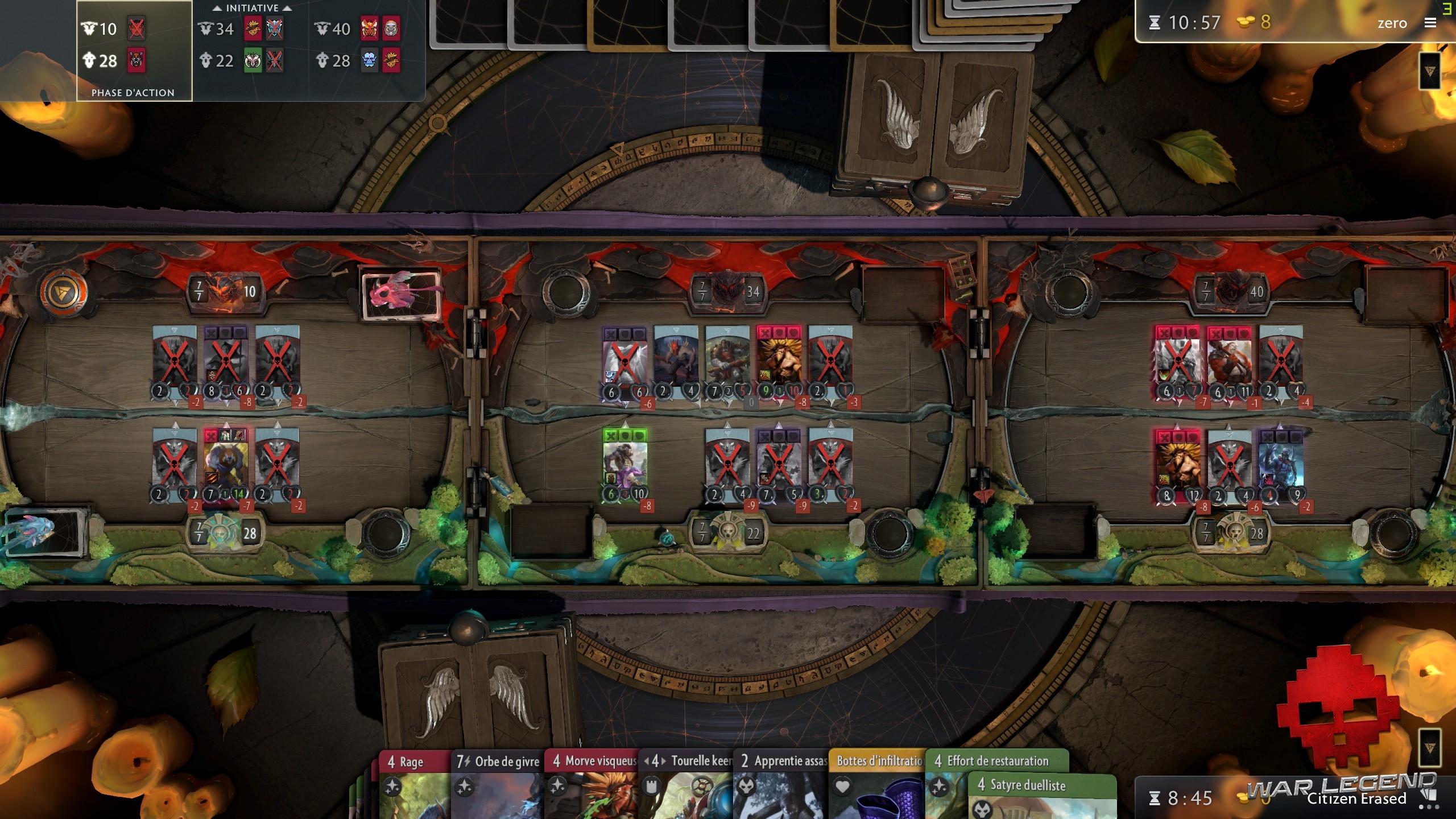 test Artifact vision d'ensemble des trois zones de jeu