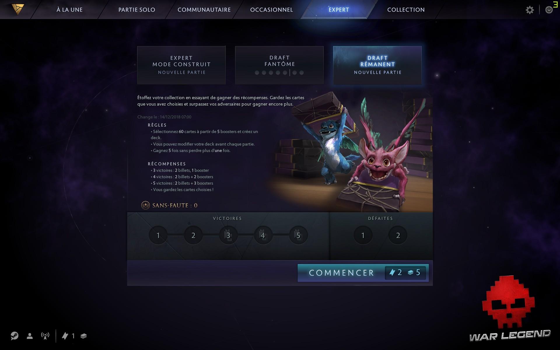 test Artifact écran de sélection des modes événements de draft