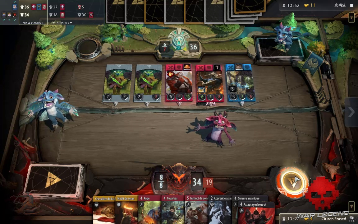 test Artifact le terrain du joueur n'a plus de cartes