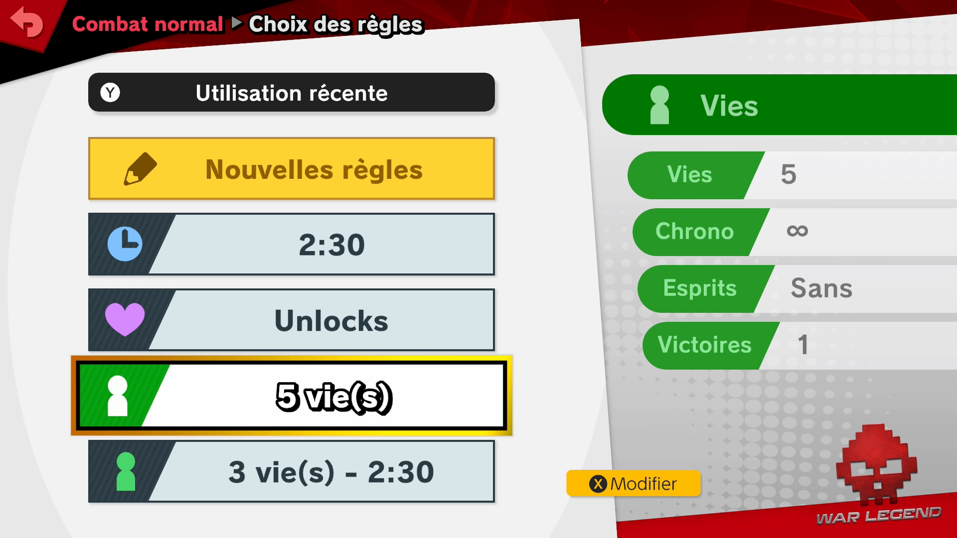 Test Super Smash Bros. Ultimate écran de paramétrage des parties