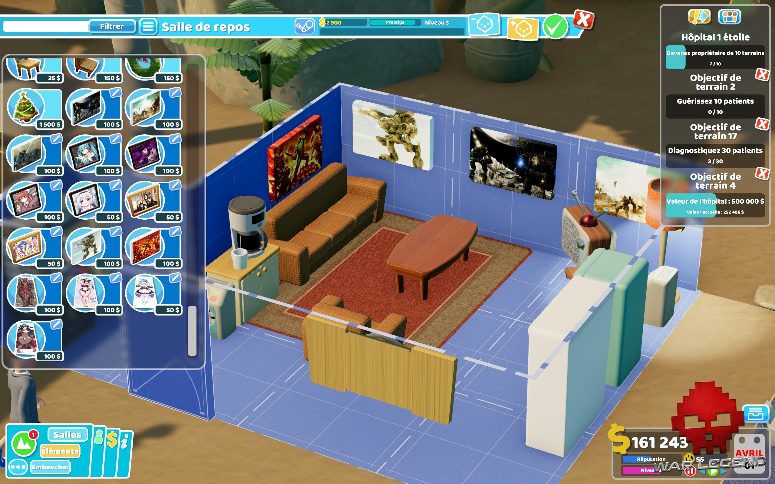 Test Two Point Hospital: Pebberley Island - Mode personnalisation