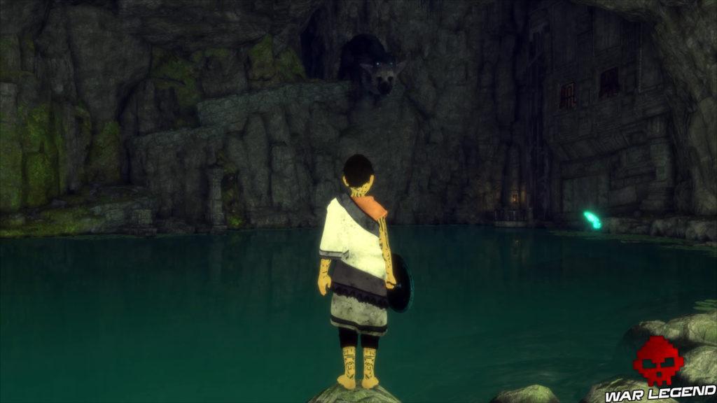 Test The Last Guardian l'enfant au bord de l'eau dans une grotte