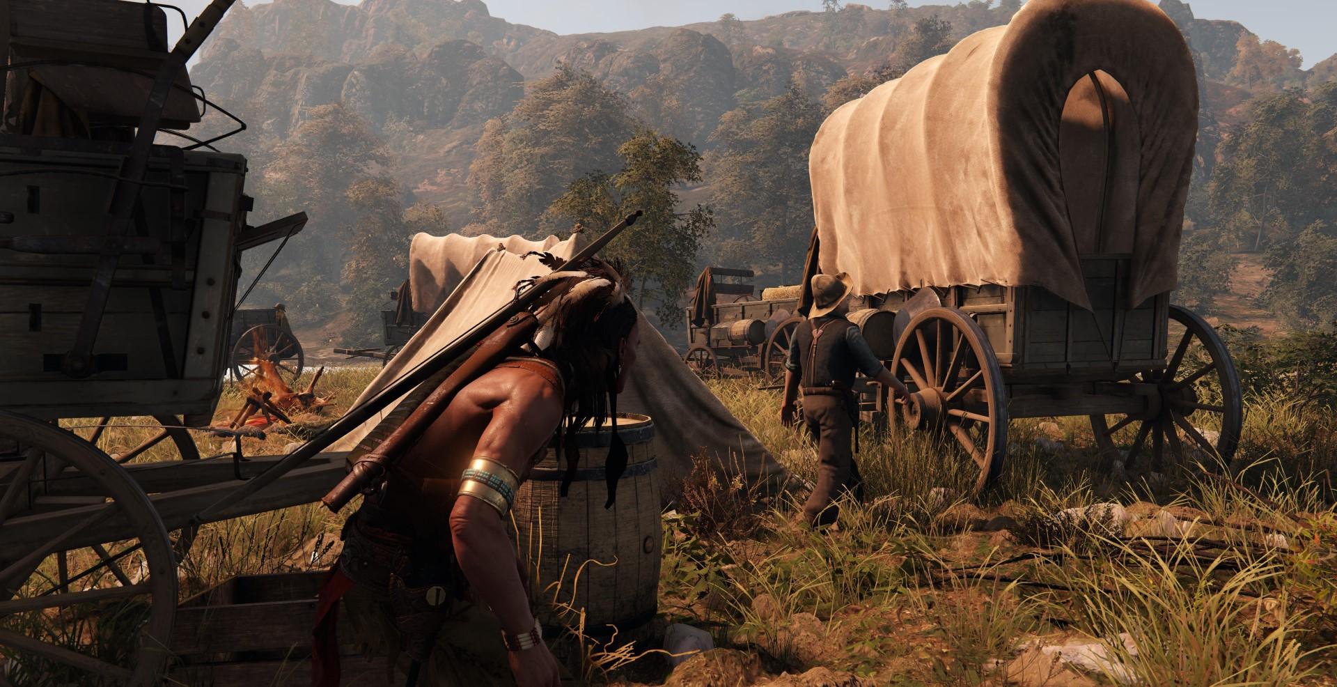 This Is My Land indien s'apprêtant à attaquer une caravane de colons
