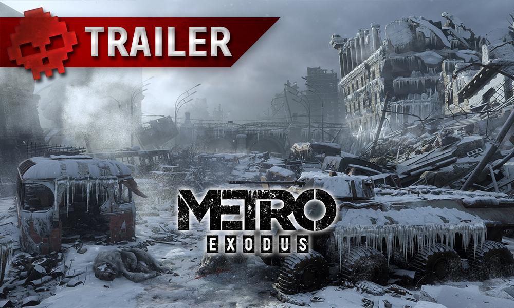 metro exodus, logo sur fond de paysage urbain désolé et enneigé, bandeau trailer