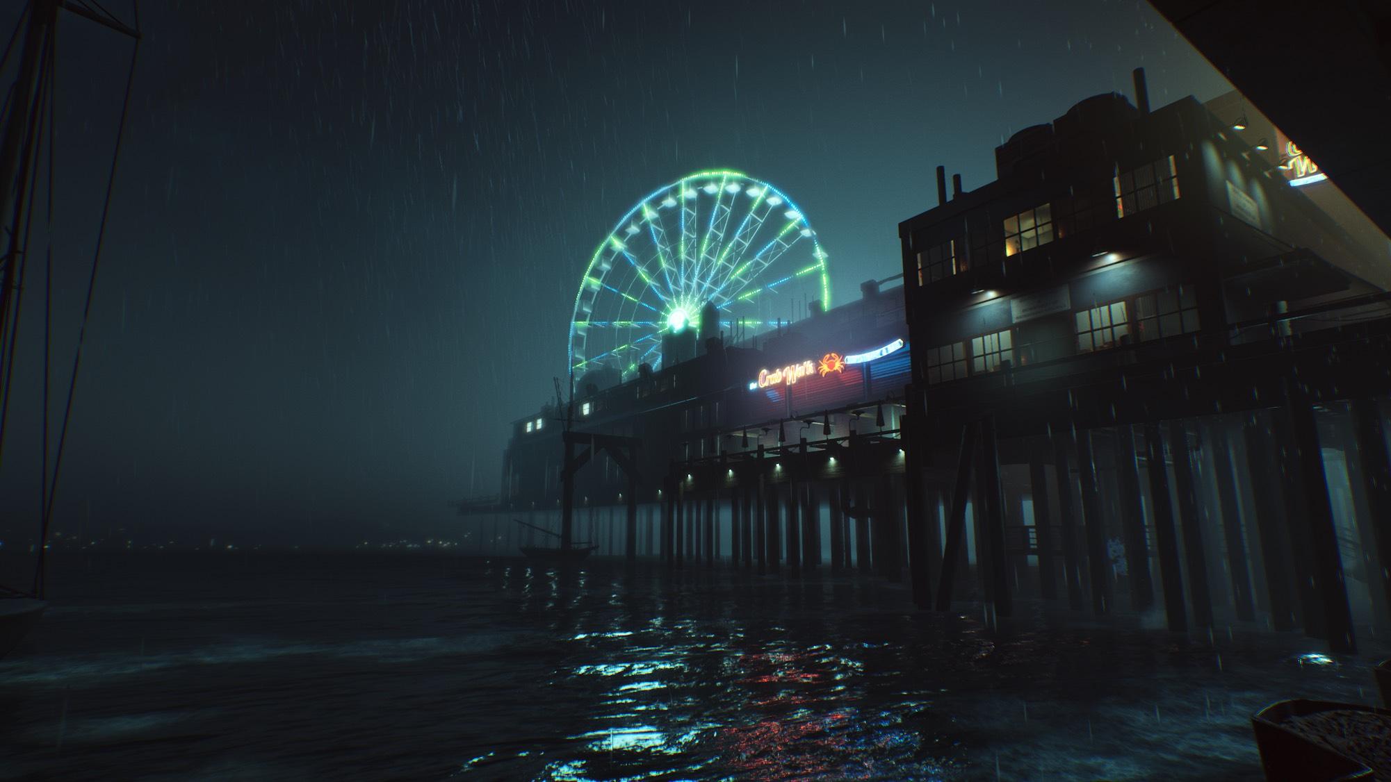 Une grande roue sous une nuit noire
