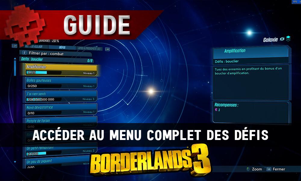 Vignette guide borderlands 3 défis