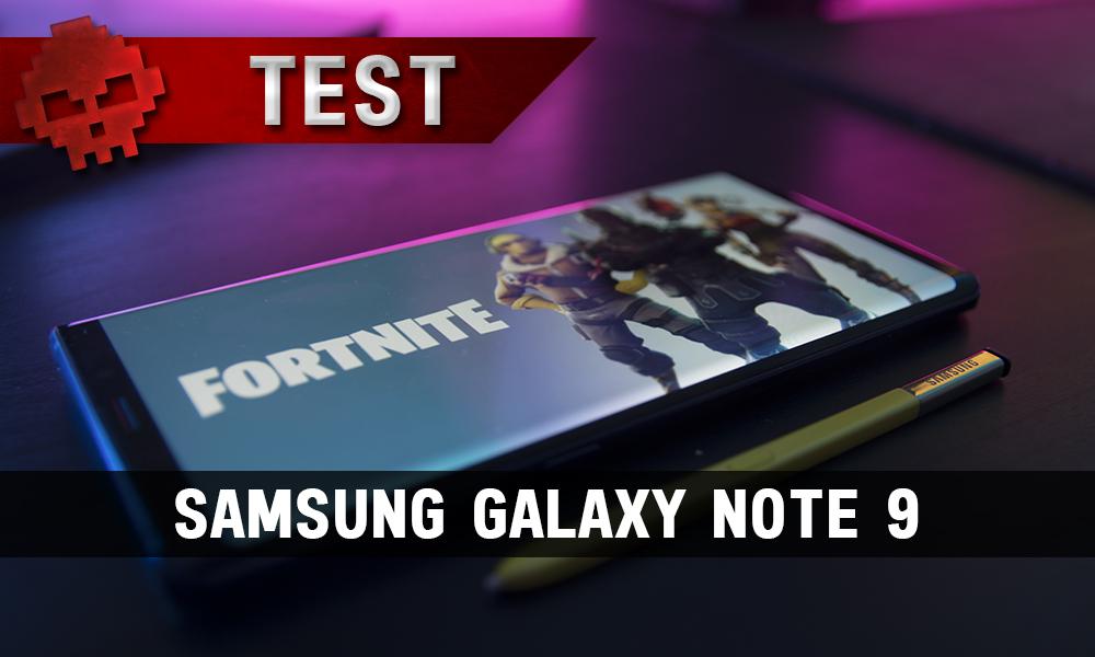 Vignette test Samsung Galaxy Note 9 photo du téléphone avec fond d'écran fortnite